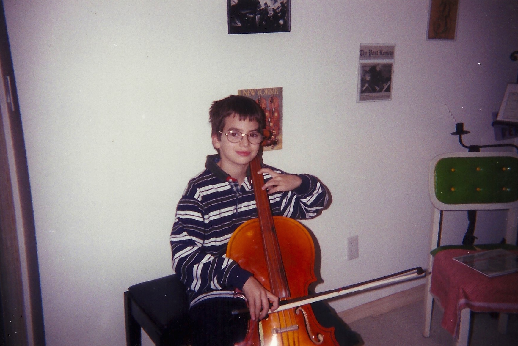 Young Bryan Charles Wilson taking cello lessons and learning about life.