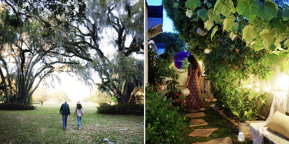 Left: My childhood backyard. Right: Our lil' garden at the Cottage.