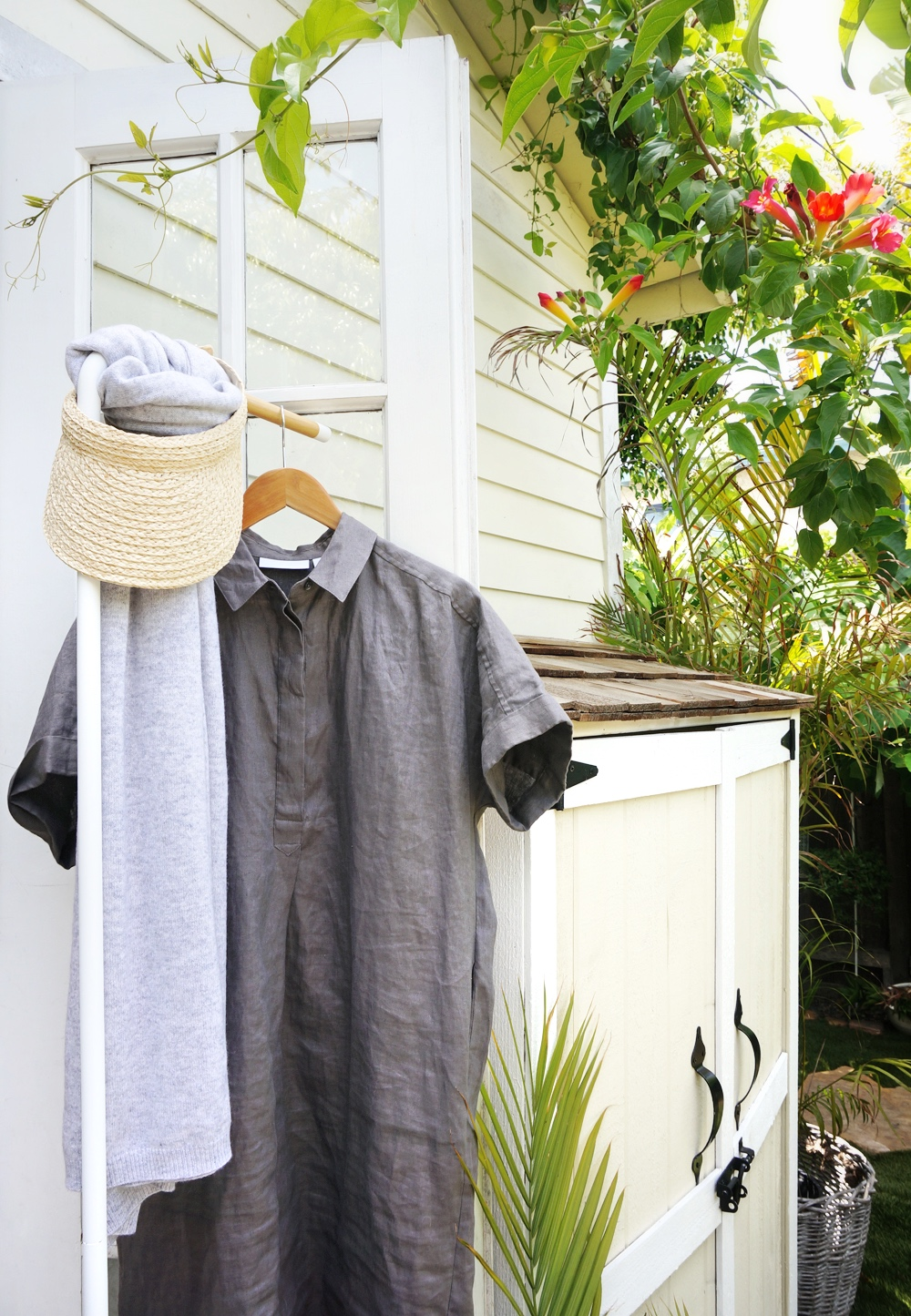 Linen Shirt Dress in Smoke  /  Straw Visor  / Cashmere Scarf (Coming soon)