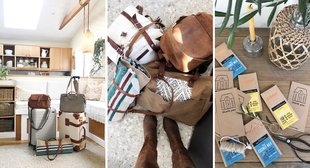 """A mix of our go-to travel pieces from The Fawn + Cub, Steamline, Away, This is Ground, and Ona. We packed small-batch chocolates by Nohmad and """"Thank You"""" cards from the Cottage for particularly helpful and patient folks on the flights."""