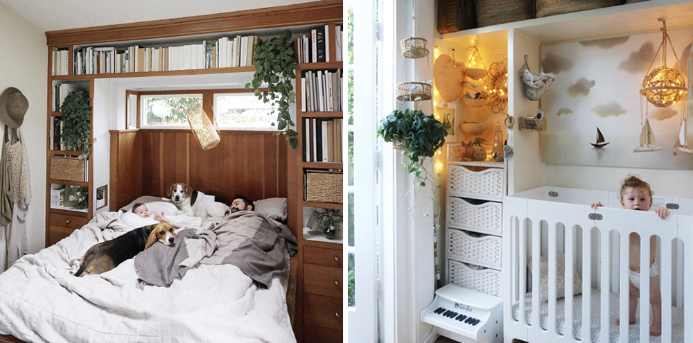 Left: WEST In the DockATot Deluxe in the Cottage bedroom. Right: West In THE mini-crib in our tiny house nursery nook.
