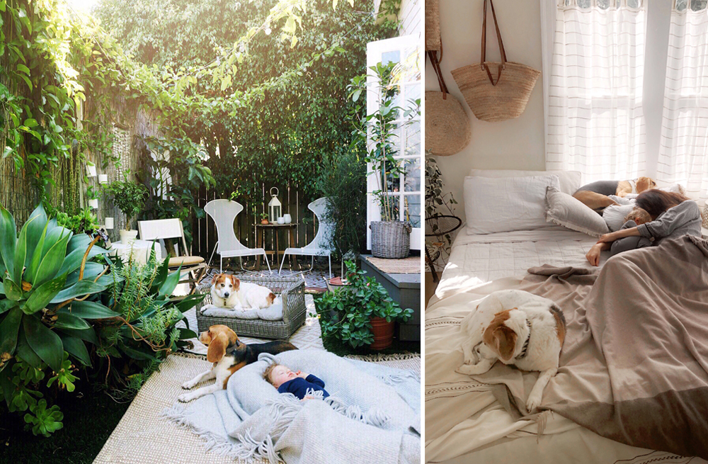 Left: In the DockATot Grand in the garden. Right: Slumber party in the front cottage guest bed.