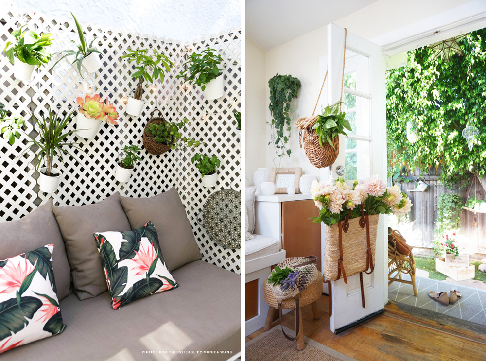 Left: The cottage porch, with a living garden wall. Right: The back tiny cottage, with a plant on a floating shelf in the background, and market greenery displayed via reusable bags.