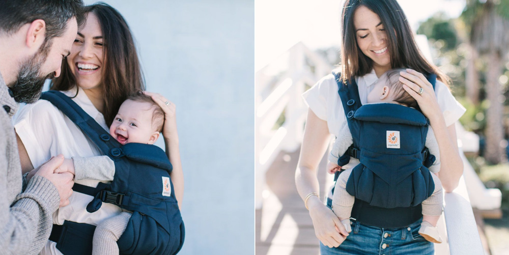 Above: On a shoot 5 months postpartum. Hair straightened & styled. (Photos © Ergobaby.)
