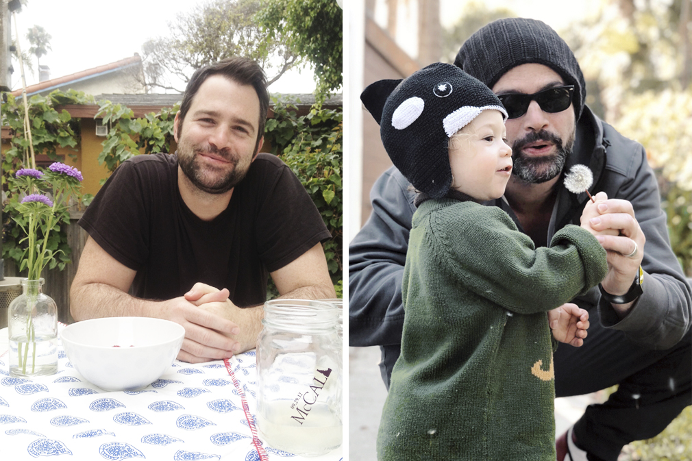 Left: Adam on the porch years ago, before his (wonderful) grays. Last year we celebrated his 40th here at the Cottage. Right: Adam introducing our son West to his first dandelion.