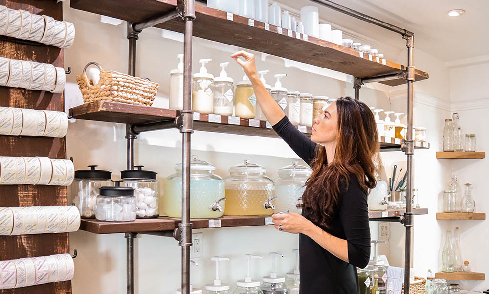 Refilling our own glass containers with household and beauty products at    Recontained   .