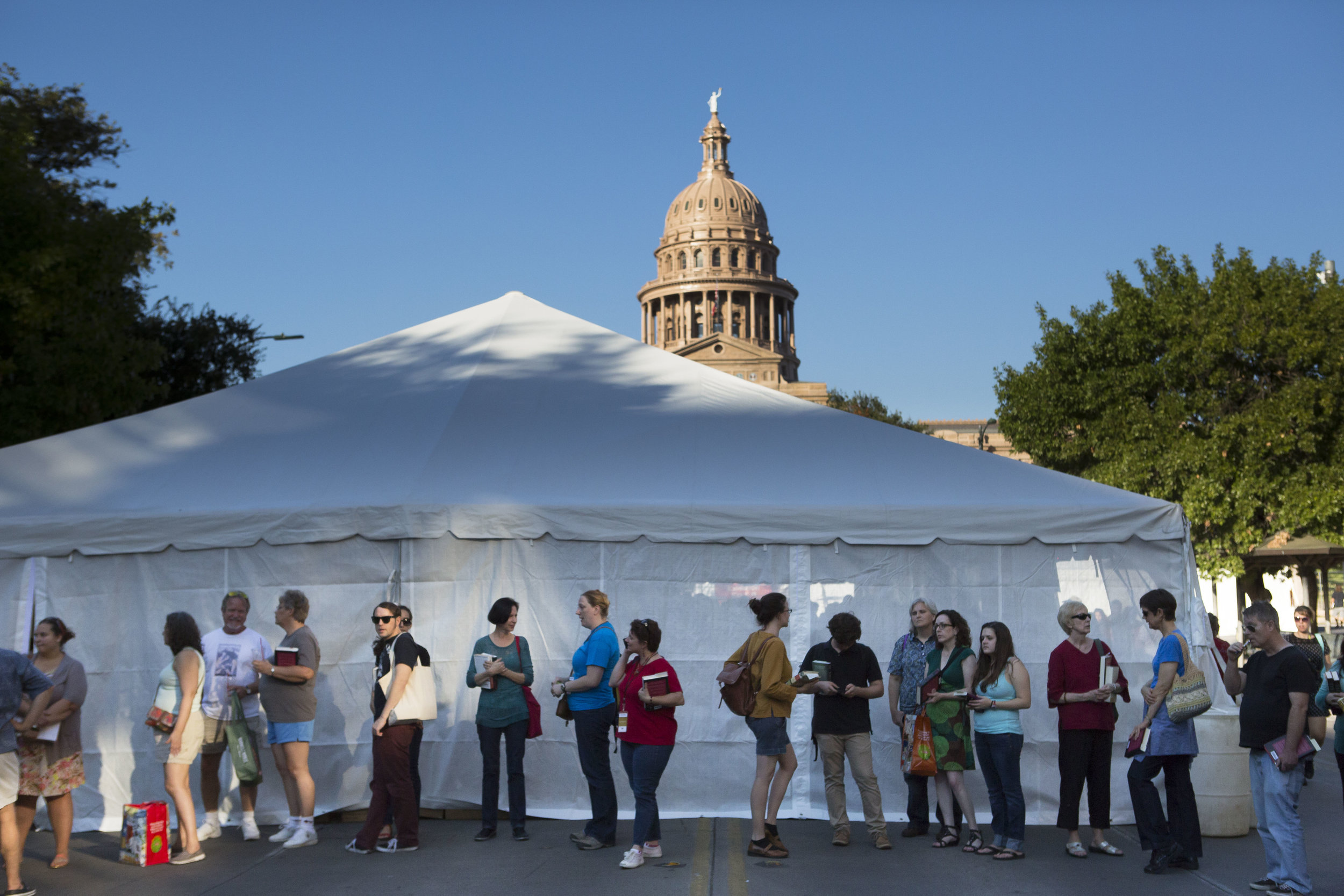 Book tents in front of the Capitol at the Texas Book Festival