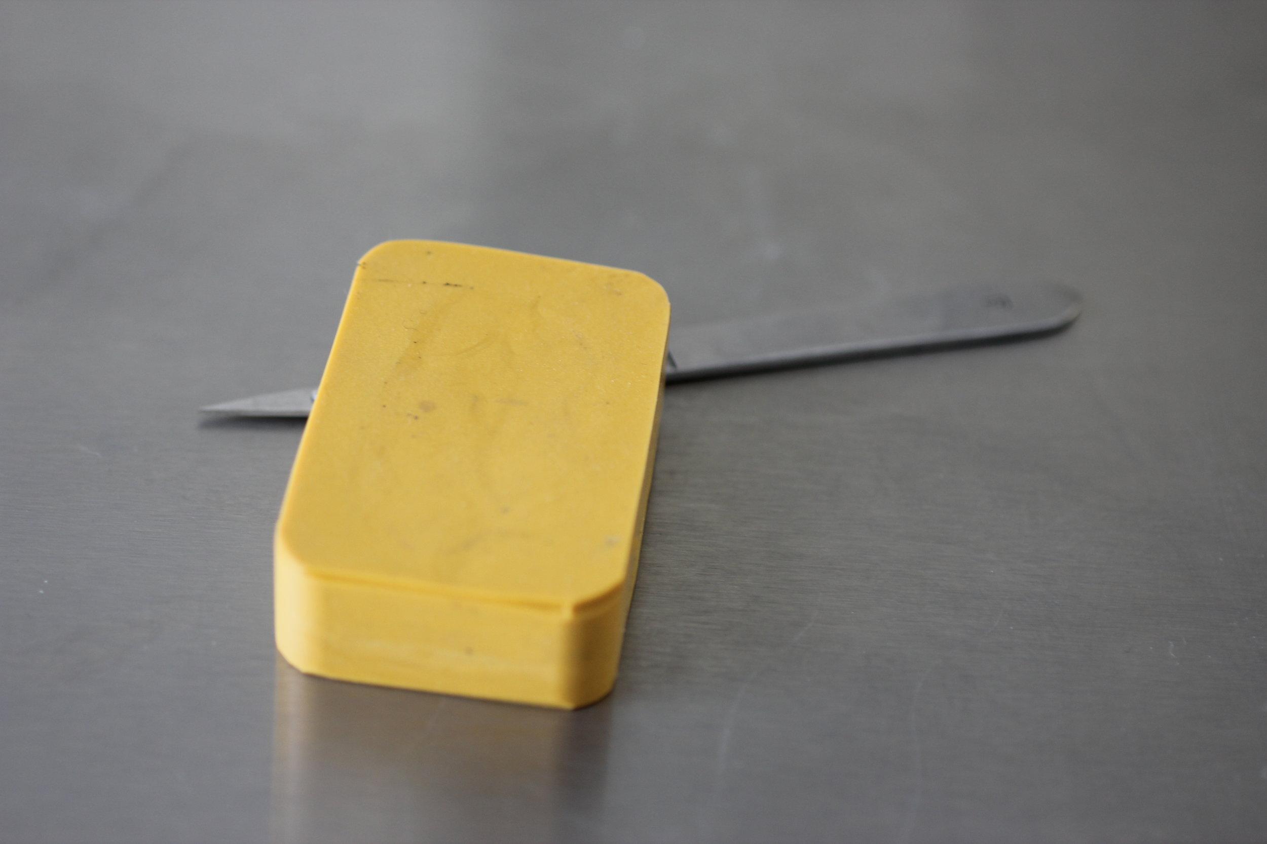 A uncut rubber mould - the master patter hidden inside.