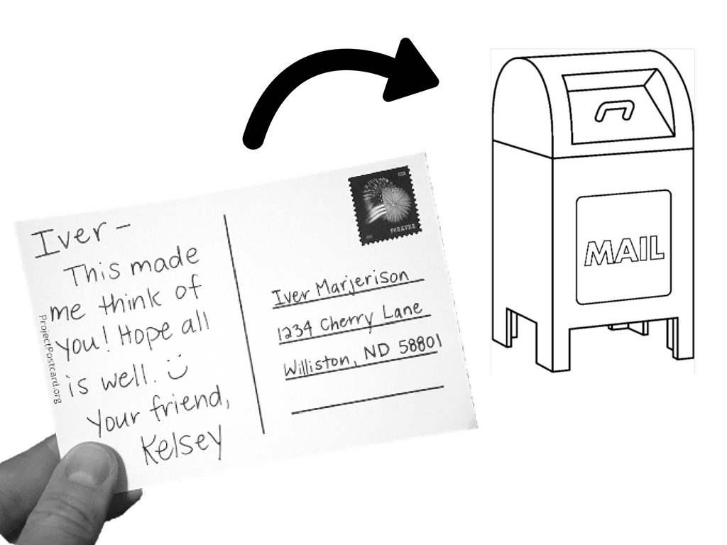 3 - Send! - Scribble the recipient's address on the lines, slap on a stamp, and drop in a mailbox!