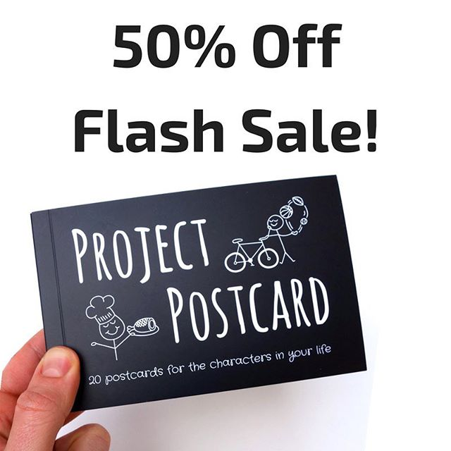 Now is the perfect time to start celebrating the characters in your life via our booklet of 20 crazy-cool postcards! . 50% off all orders for the next 48 hours! . Promo Code: just because . ProjectPostcard.org