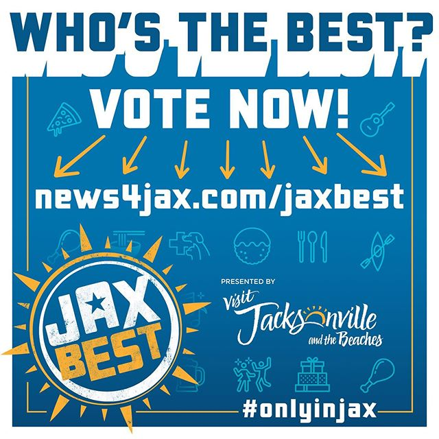 """""""We are excited to share that we are in the running to win the Jax Best category of (FILL IN CATEGORY) on News4JAX.com. Help us prove why we're the best BBQ in Jacksonville by going to News4JAX.com/jaxbest to vote for us once every day from October 9-20th! Spread the word! #OnlyinJAX"""""""