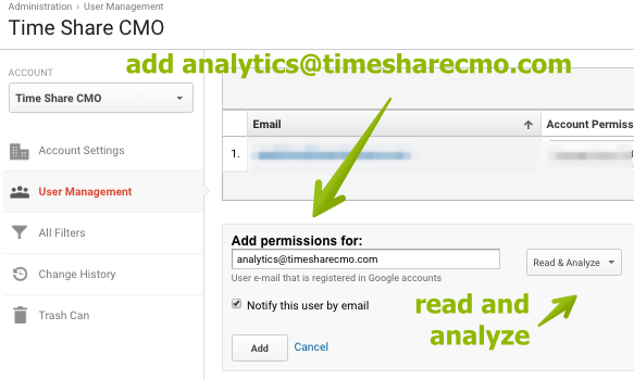 C. Add analytics@timesharecmo.com to your GA, and give us read and analyze permissions. Be sure to notify us by email!