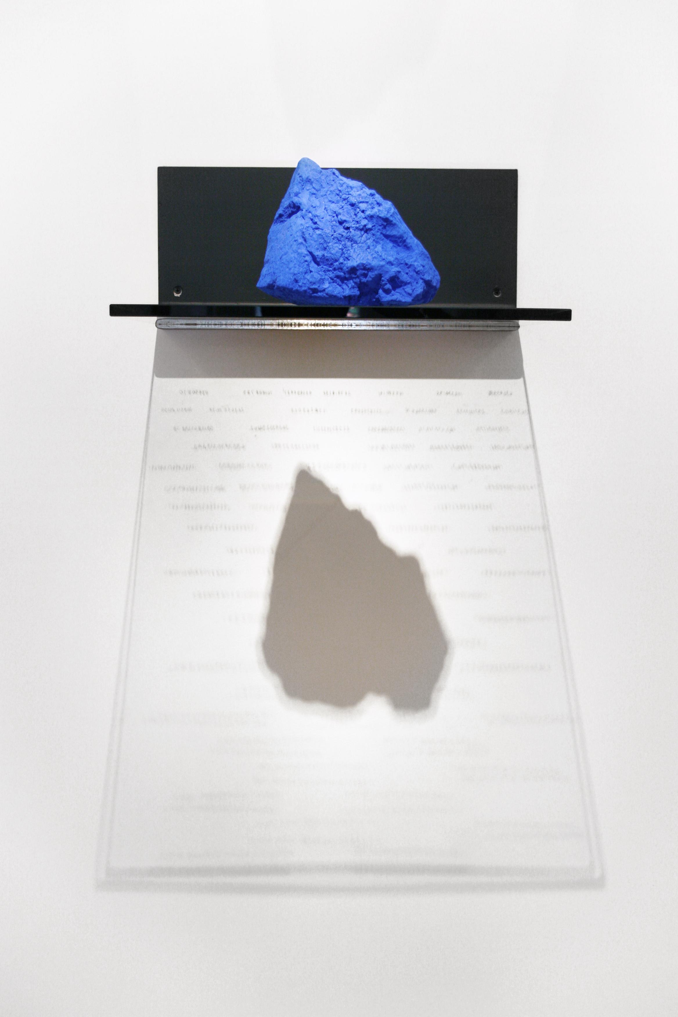 ULTRAMARINUS  STEEL, SILKSCREEN ON GLASS, PURE POWDER PIGMENT   18 x 18 x 7 in  INQUIRE