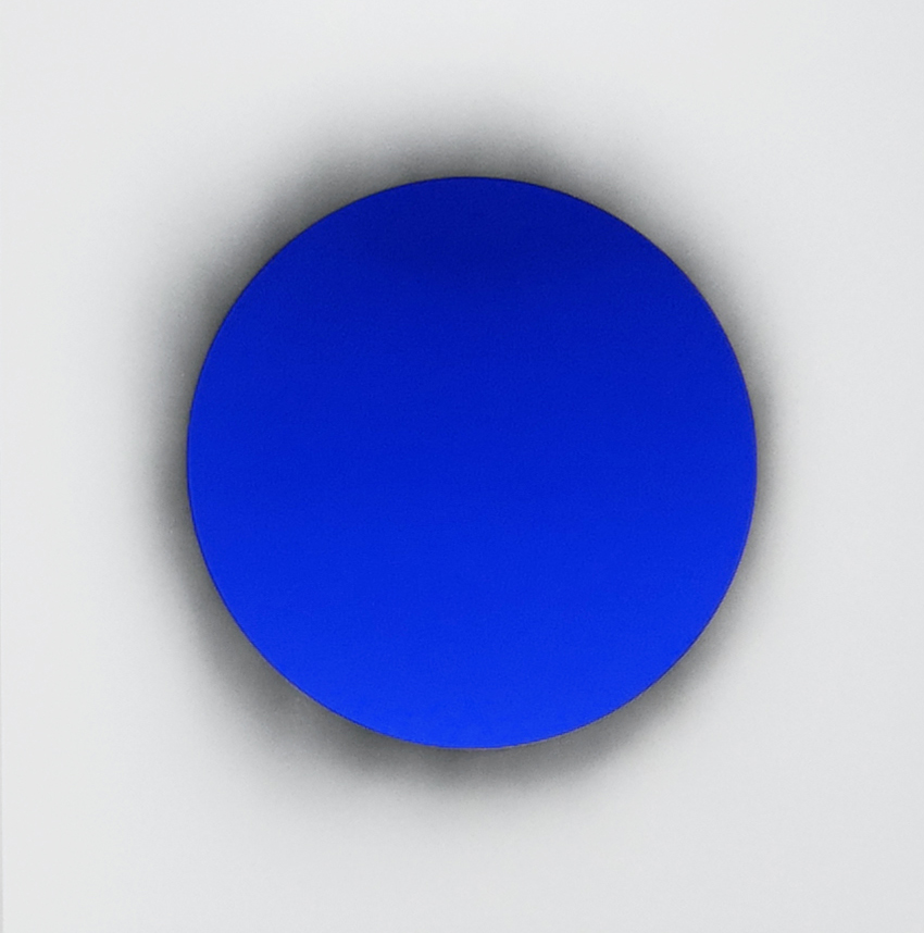 "STILL POINT (BLUE HORIZON)  2017 PIGMENT ON PANEL, RESIN 42 x 42""   INQUIRE"