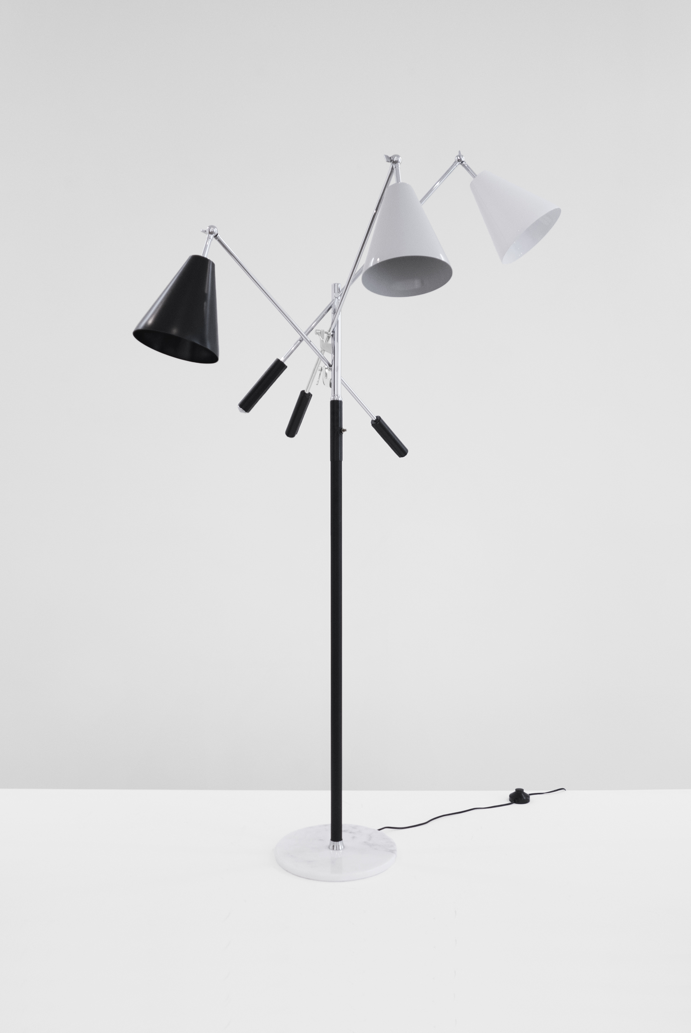 Arredoluce Triennale Floor Lamp, c. 1960 - 1969, nickeled brass, enameled metal, leather, marble, 67H x 35W x 35D inches_2.jpg