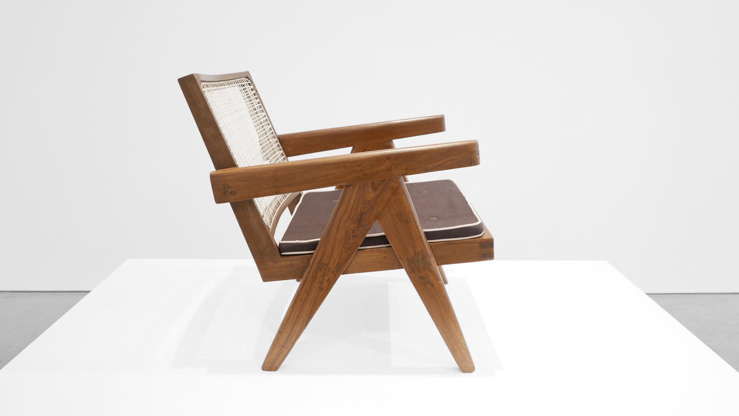 Pierre Jeanneret, Low lounge chair, model PJ-SI-29-A, c. 1955, teak, cane, 24.5H x 20.5W x 29.5D inches_2.jpg