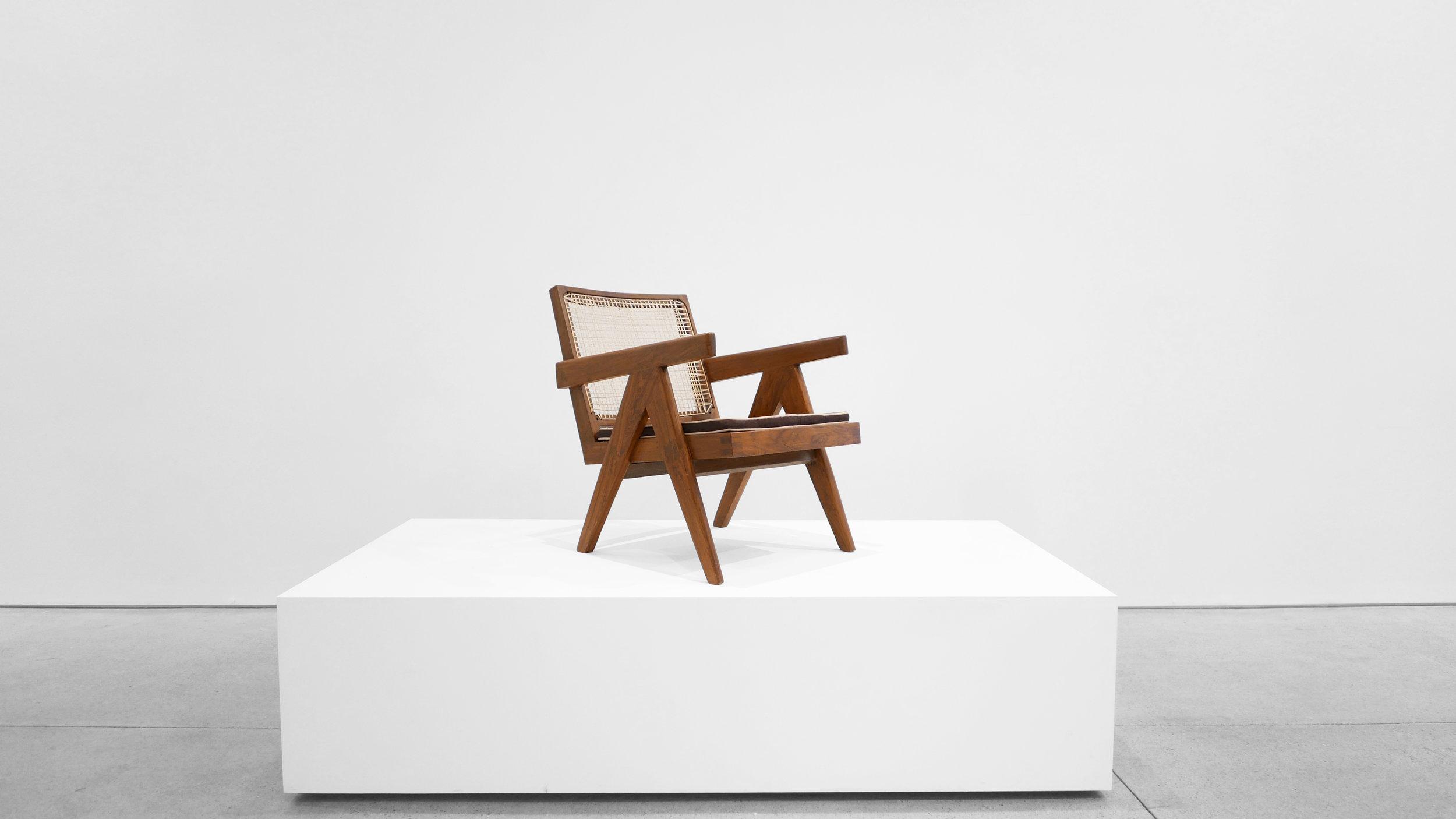 Pierre Jeanneret, Low lounge chair, model PJ-SI-29-A, c. 1955, teak, cane, 24.5H x 20.5W x 29.5D inches_1.jpg