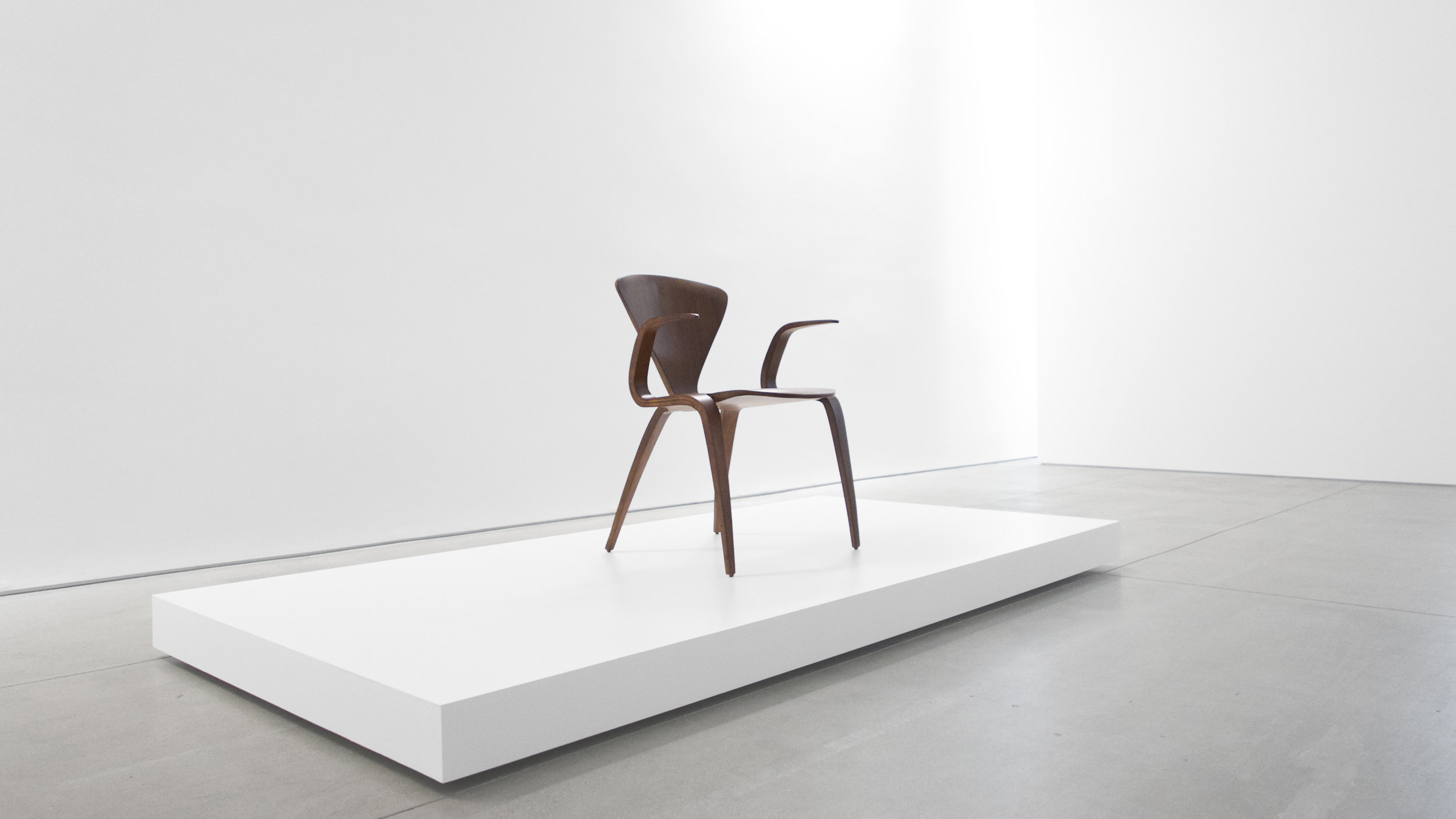 1. Norman Cherner, Rare Prototype Chair, c. 1950, walnut, 30.75H x 23W x 23D inches.jpg