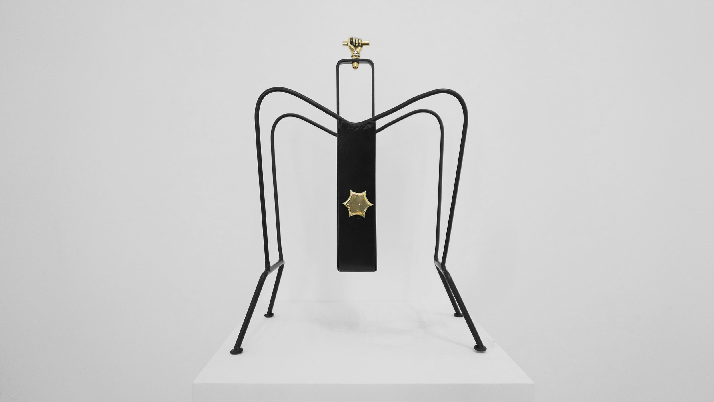 1. Jacques Adnet, 'Magazine Holder,' c. 1950s, black lacquered metal, brass, 18H x 13W x 8D inches.jpg