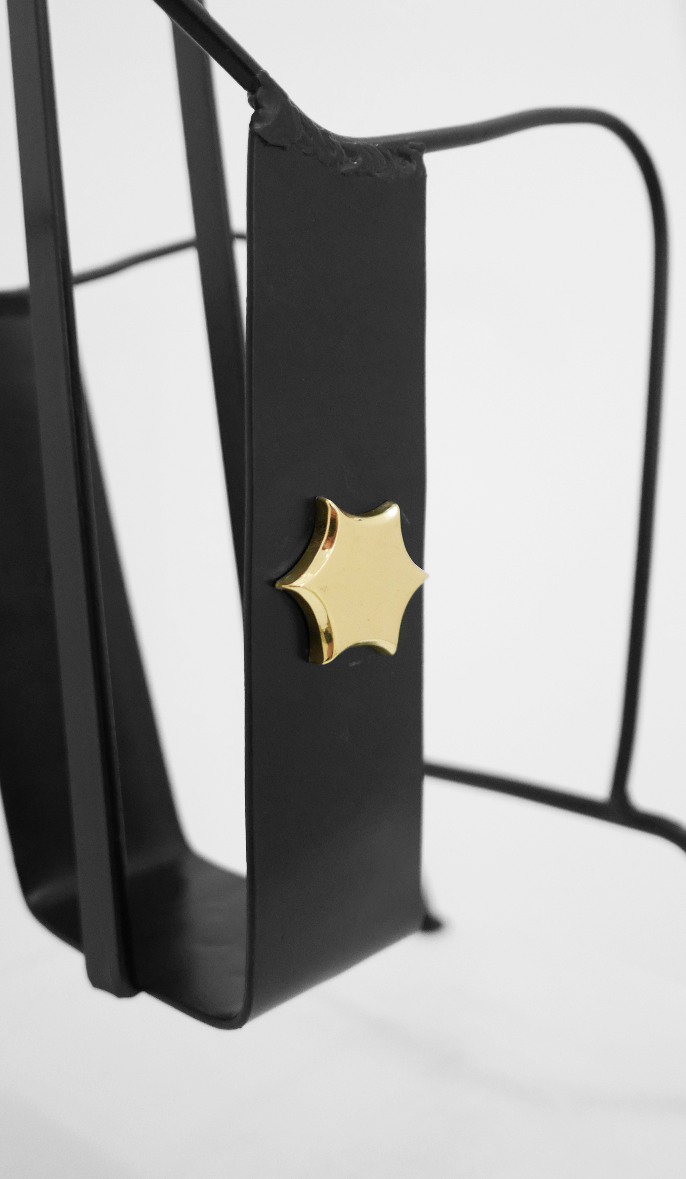 4. Jacques Adnet, 'Magazine Holder,' c. 1950s, black lacquered metal, brass, 18H x 13W x 8D inches.jpg