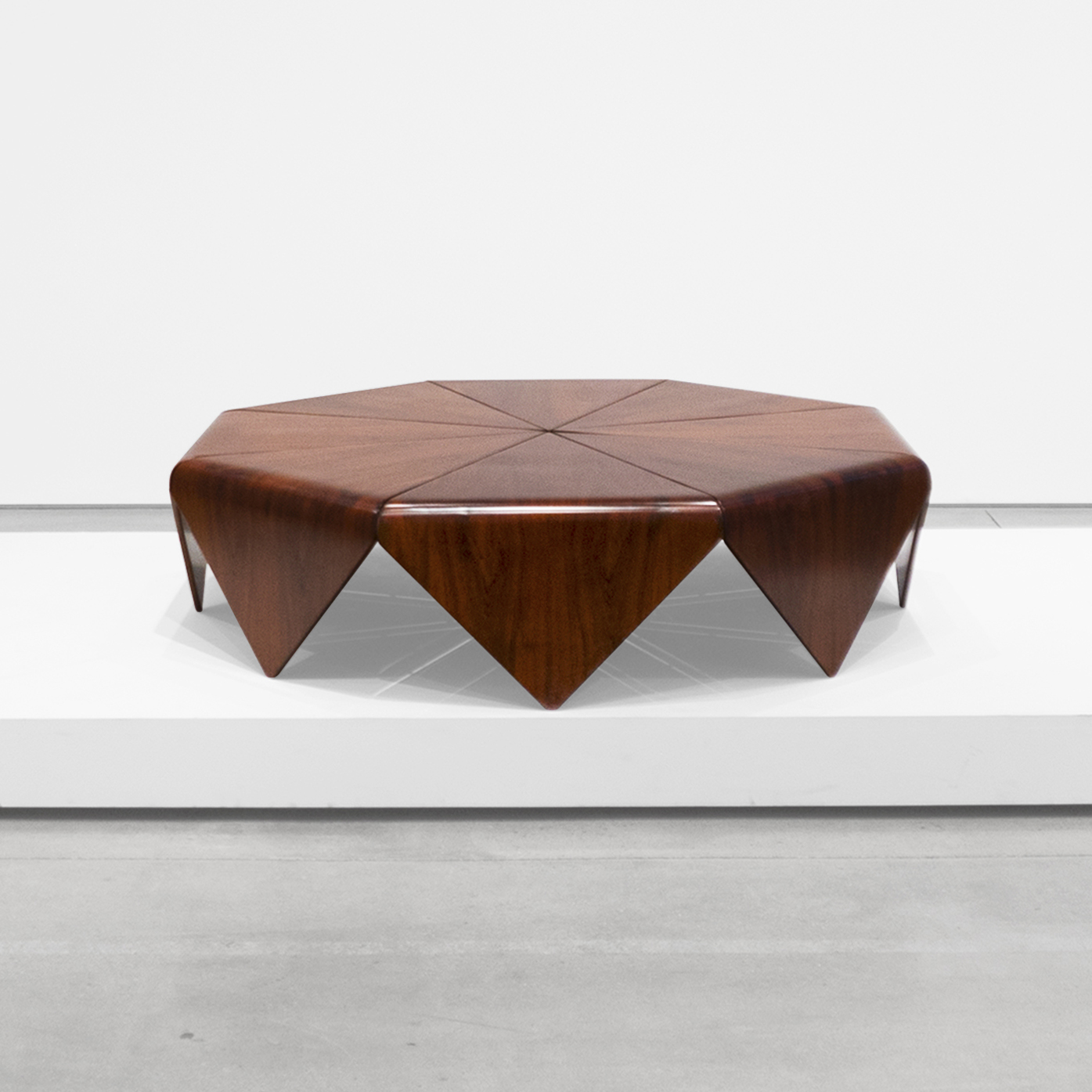 jorge zalszupin  'petalAs' rosewood coffee table  c. 1960 - 1969