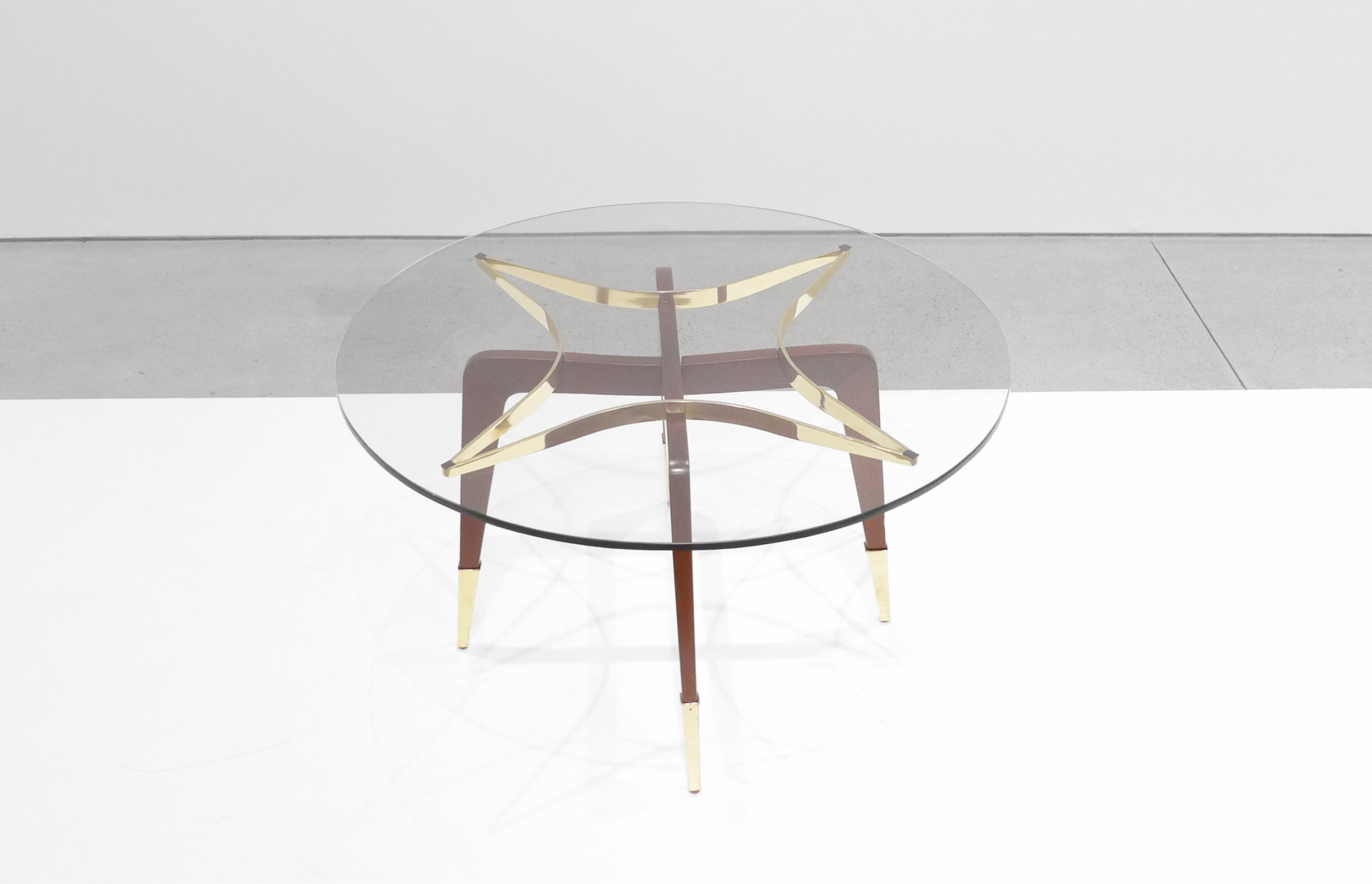 Paolo Buffa, Italian Mid-Century Coffee Table, c. 1950 - 1959, Brass, Wood, Glass, 18 H x 29.5 W inches_2.jpg
