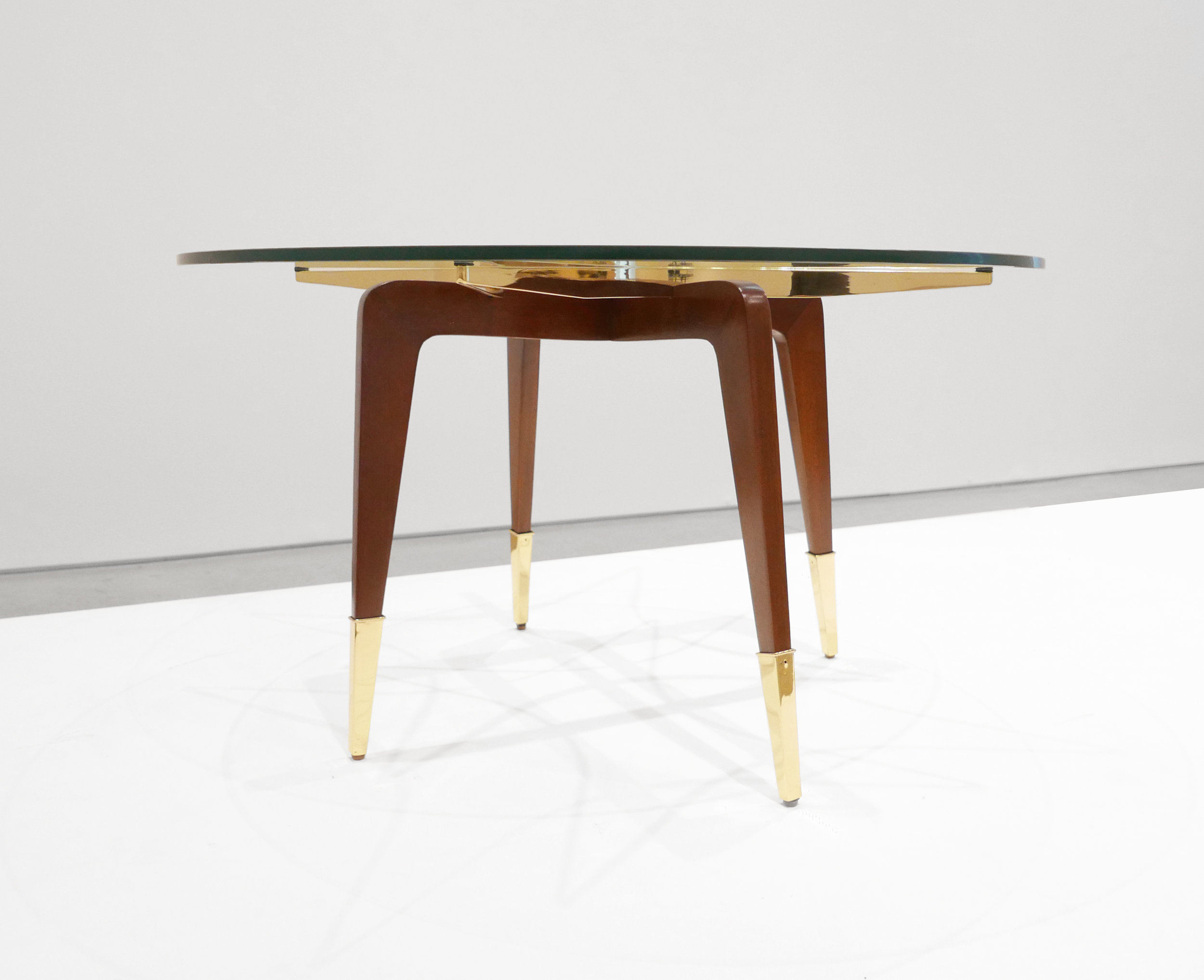 Paolo Buffa, Italian Mid-Century Coffee Table, c. 1950 - 1959, Brass, Wood, Glass, 18 H x 29.5 W inches_4.jpg