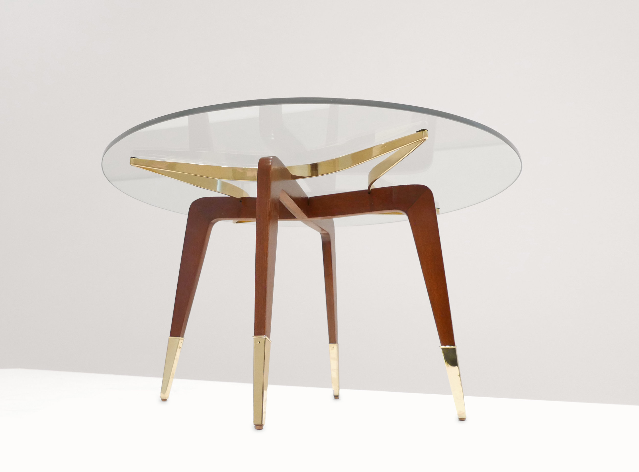 Paolo Buffa, Italian Mid-Century Coffee Table, c. 1950 - 1959, Brass, Wood, Glass, 18 H x 29.5 W inches_5.jpg