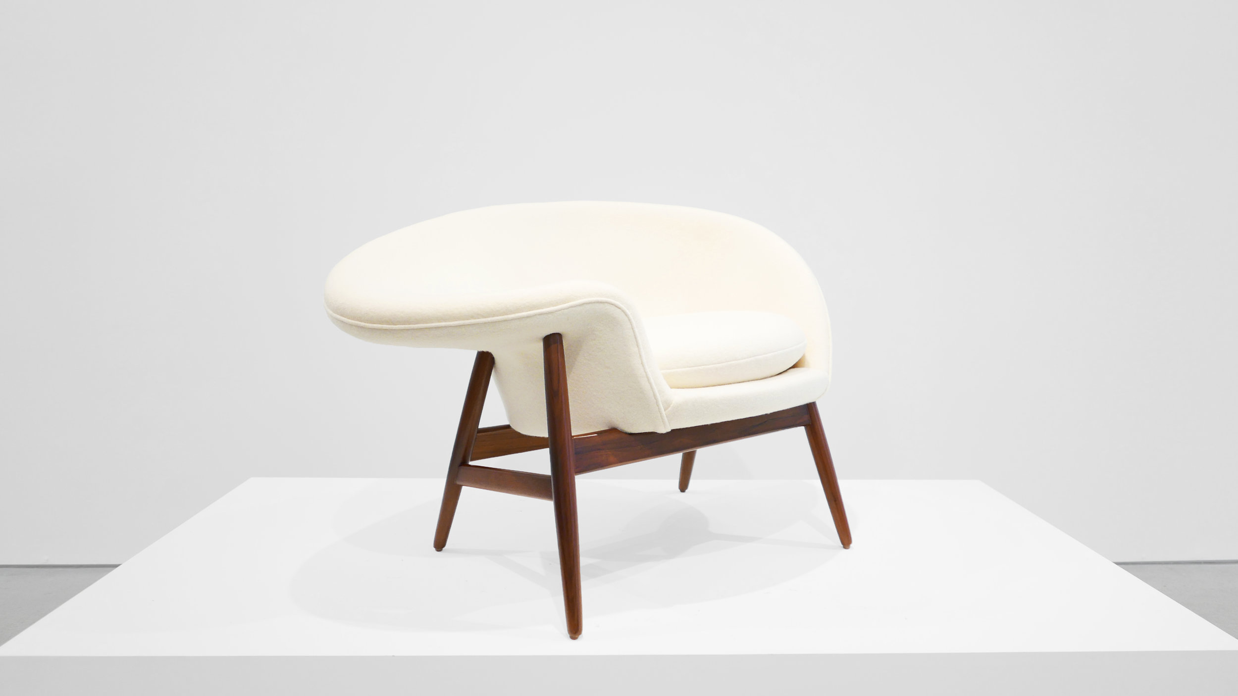 Hans Olsen %22Fried Egg%22 Chair, c. 1956, Holland & Sherry White Chamonix Boiled Wool, Teak, 26 H x 40 W x 30 D inches_1.jpg