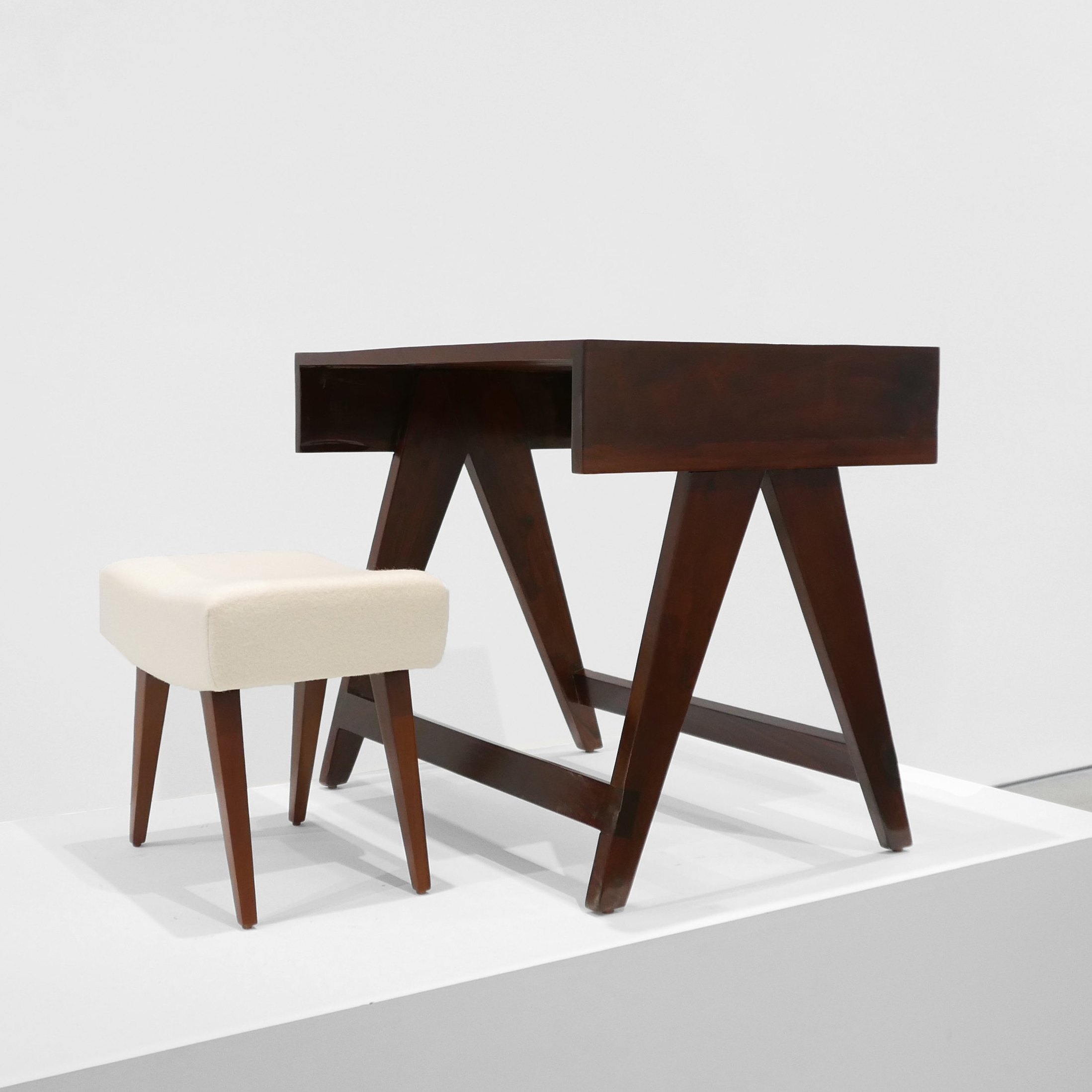 pierre jeanneret  desk & stool from chandigarh  c. 1950 -1959 ...