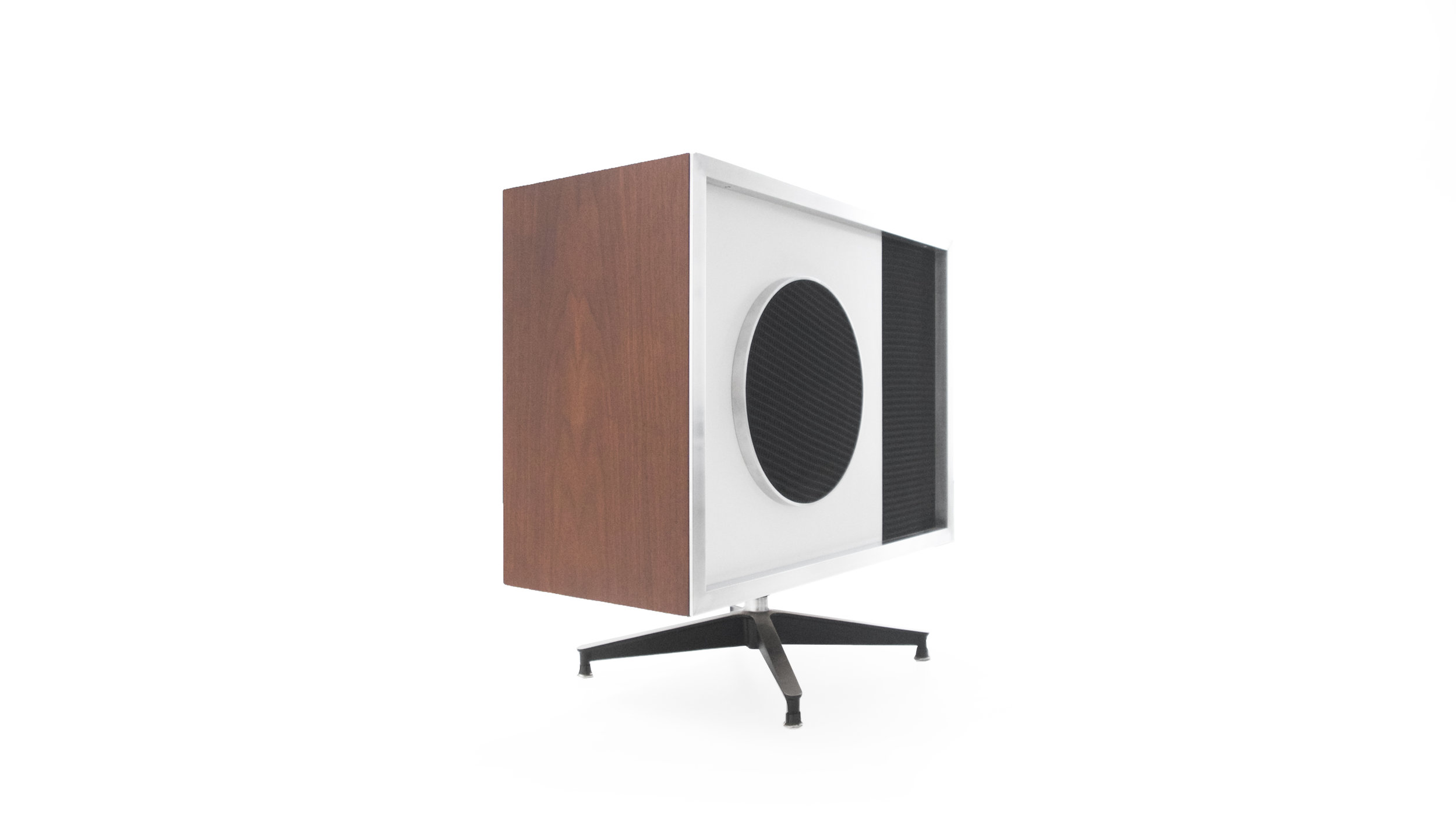 7. Charles and Ray Eames, EAMES Speaker, 1956, lacquered wood, laminate, polished and enameled aluminum, 28.5H x 30W x 13.5D inches.jpg