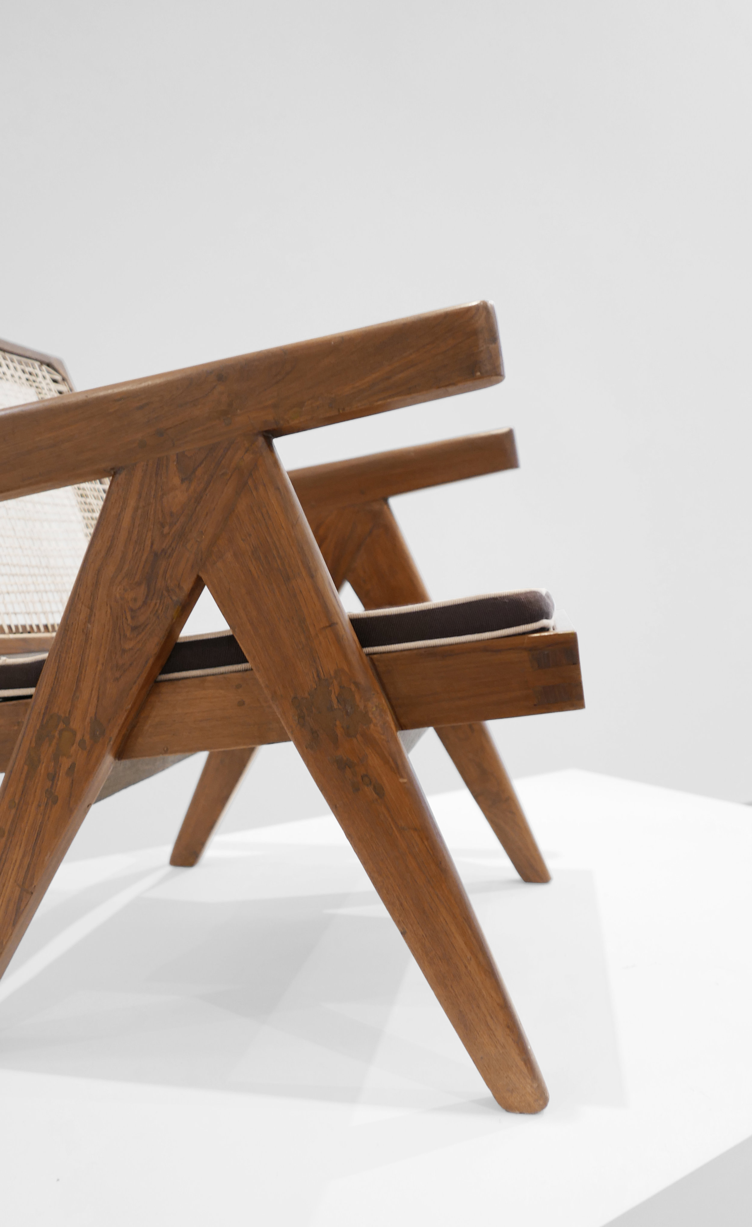Pierre Jeanneret, Low lounge chair, model PJ-SI-29-A, c. 1955, teak, cane, 24.5H x 20.5W x 29.5D inches_5.jpg