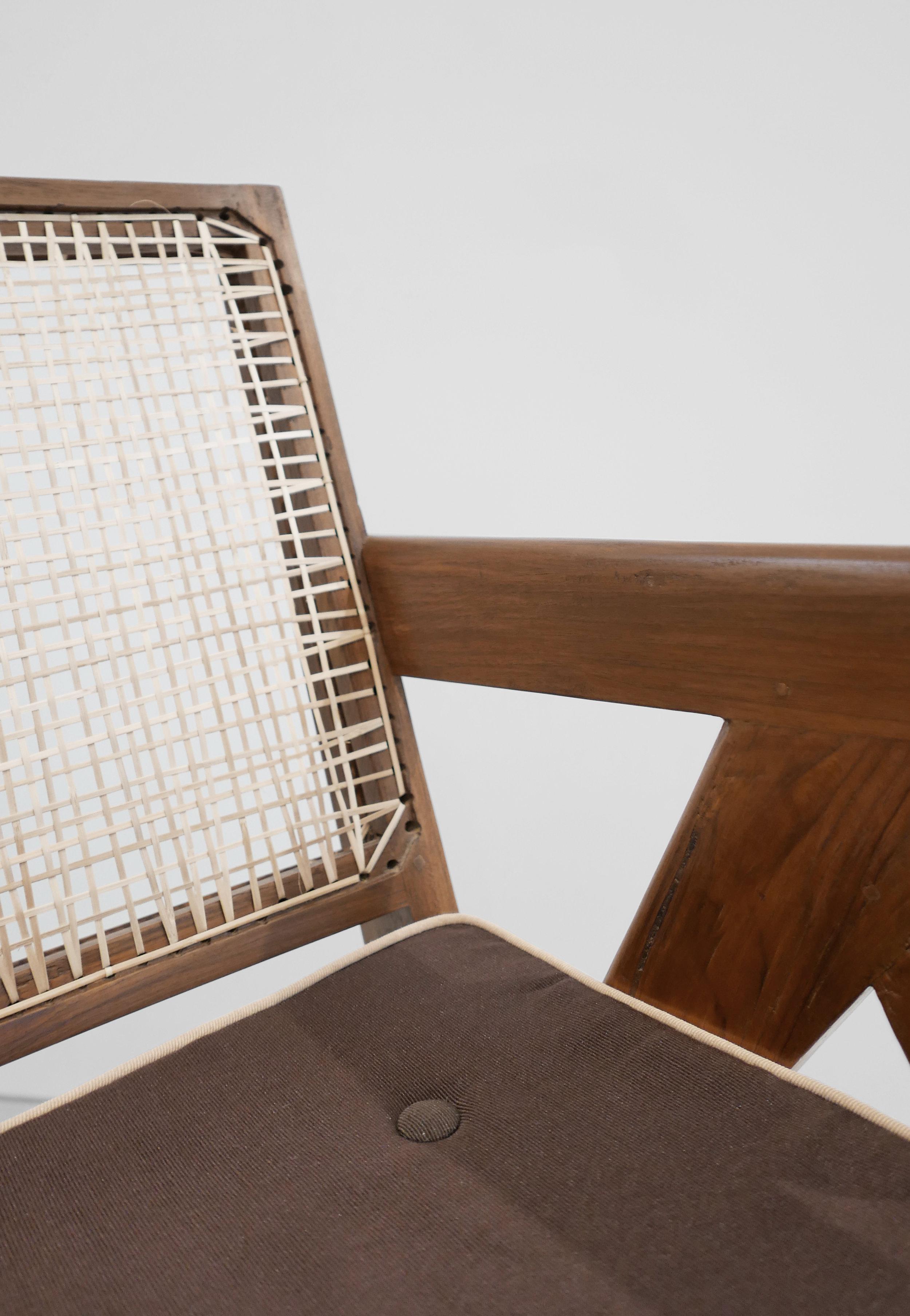 Pierre Jeanneret, Low lounge chair, model PJ-SI-29-A, c. 1955, teak, cane, 24.5H x 20.5W x 29.5D inches_7.jpg