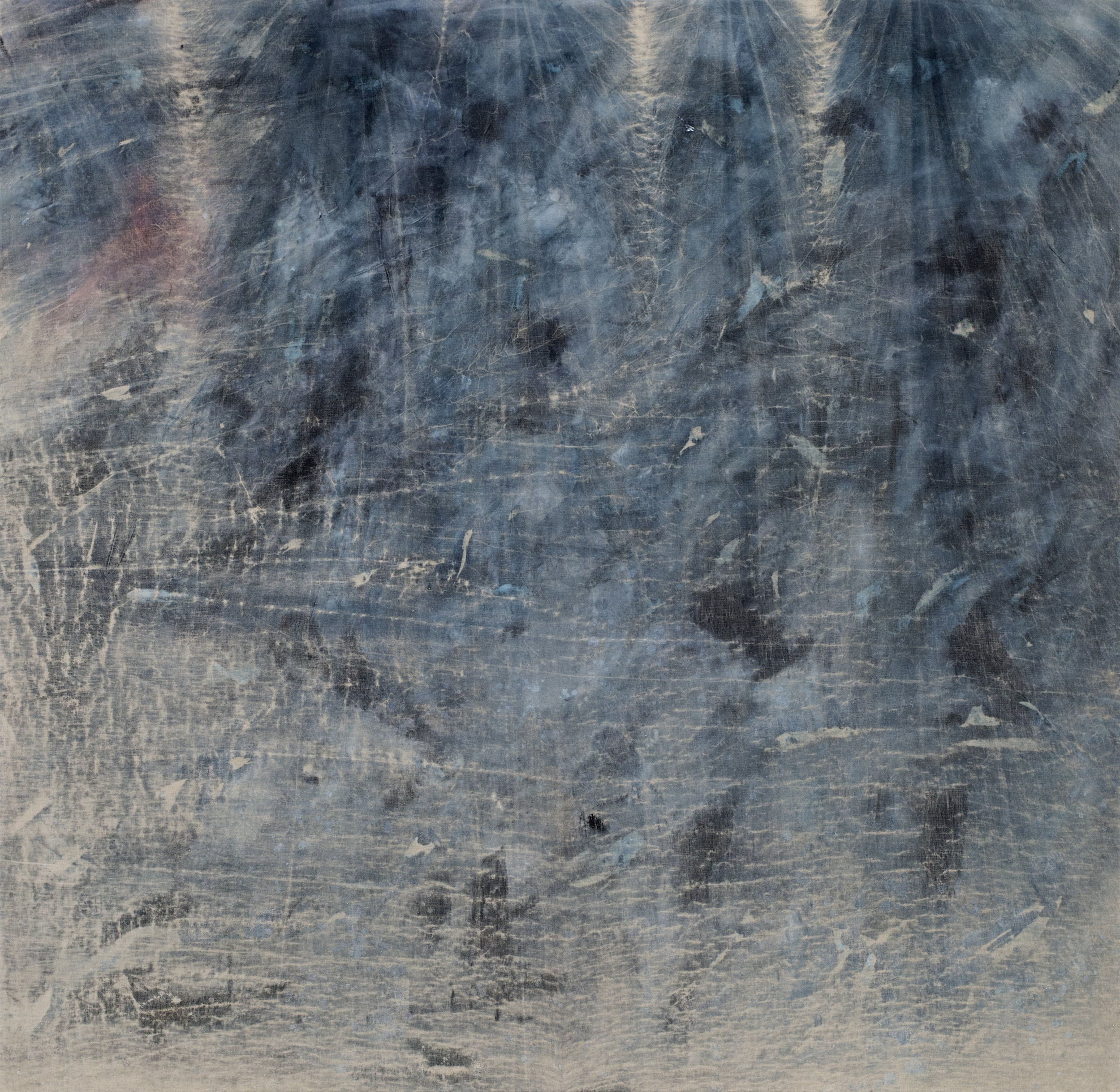 """the concrete floor of the cabin nearly became a wall  2018 mixed media on linen 78 x 76""""   INQUIRE"""