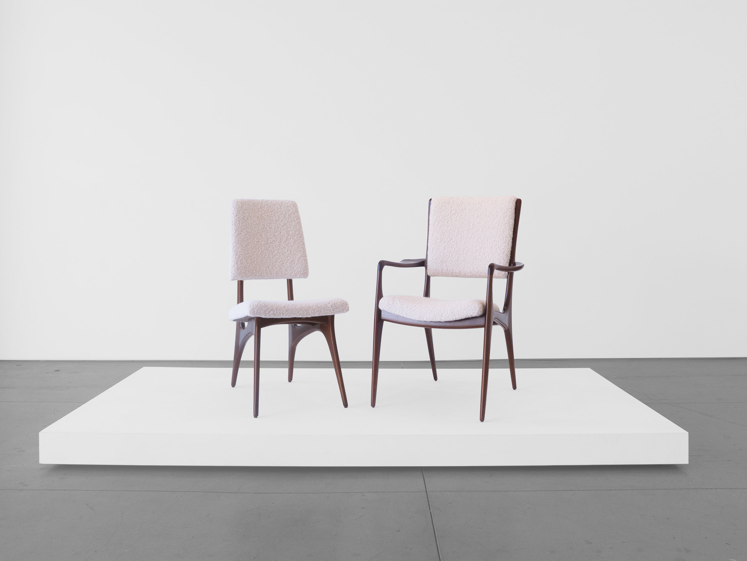 Vladimir Kagan Designed for Dreyfuss, Dining Chairs, c. 1950-1959, Walnut, Upholstery, 36.5 H x 24 W x 25 D inches_1.jpg