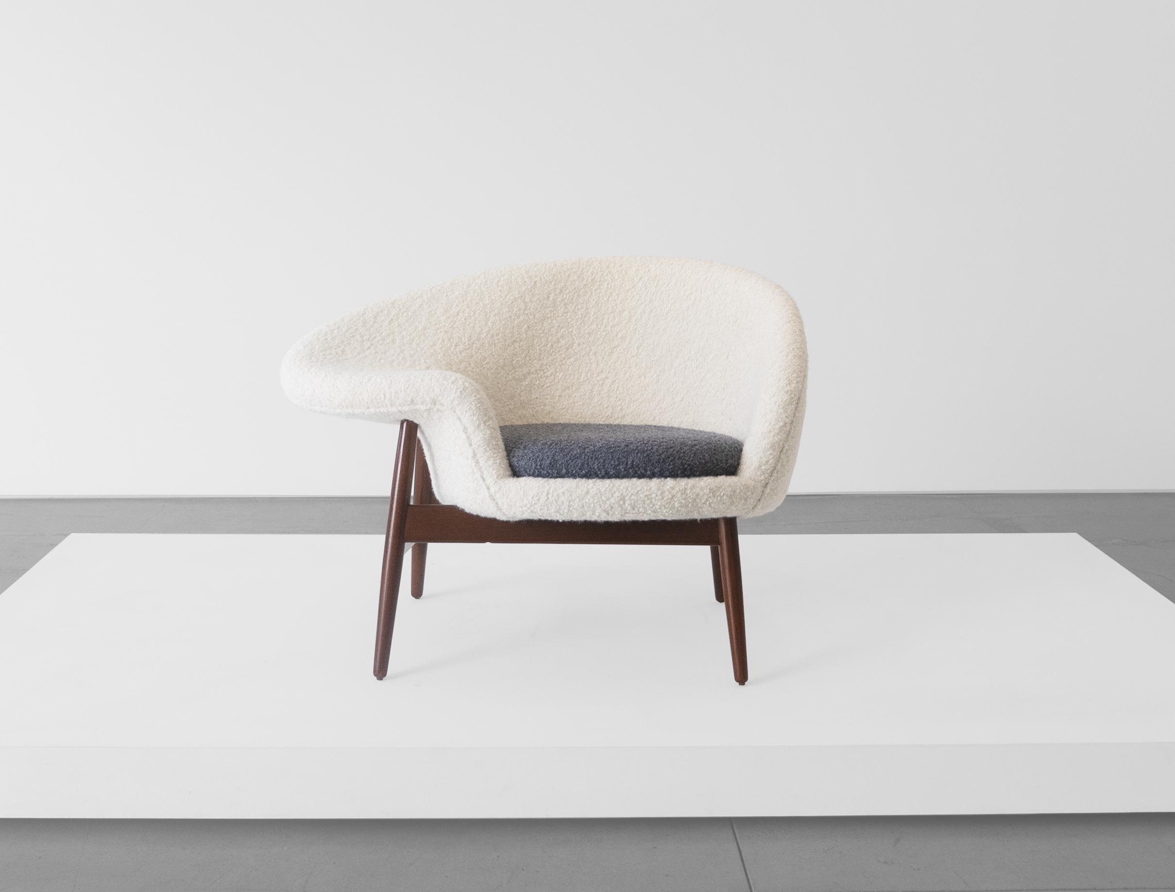 """Hans Olsen, """"Fried Egg"""" Chair 2, c. 1956, Teak, Upholstery, 26 H x 40 W x 30 D inches_1.jpg"""