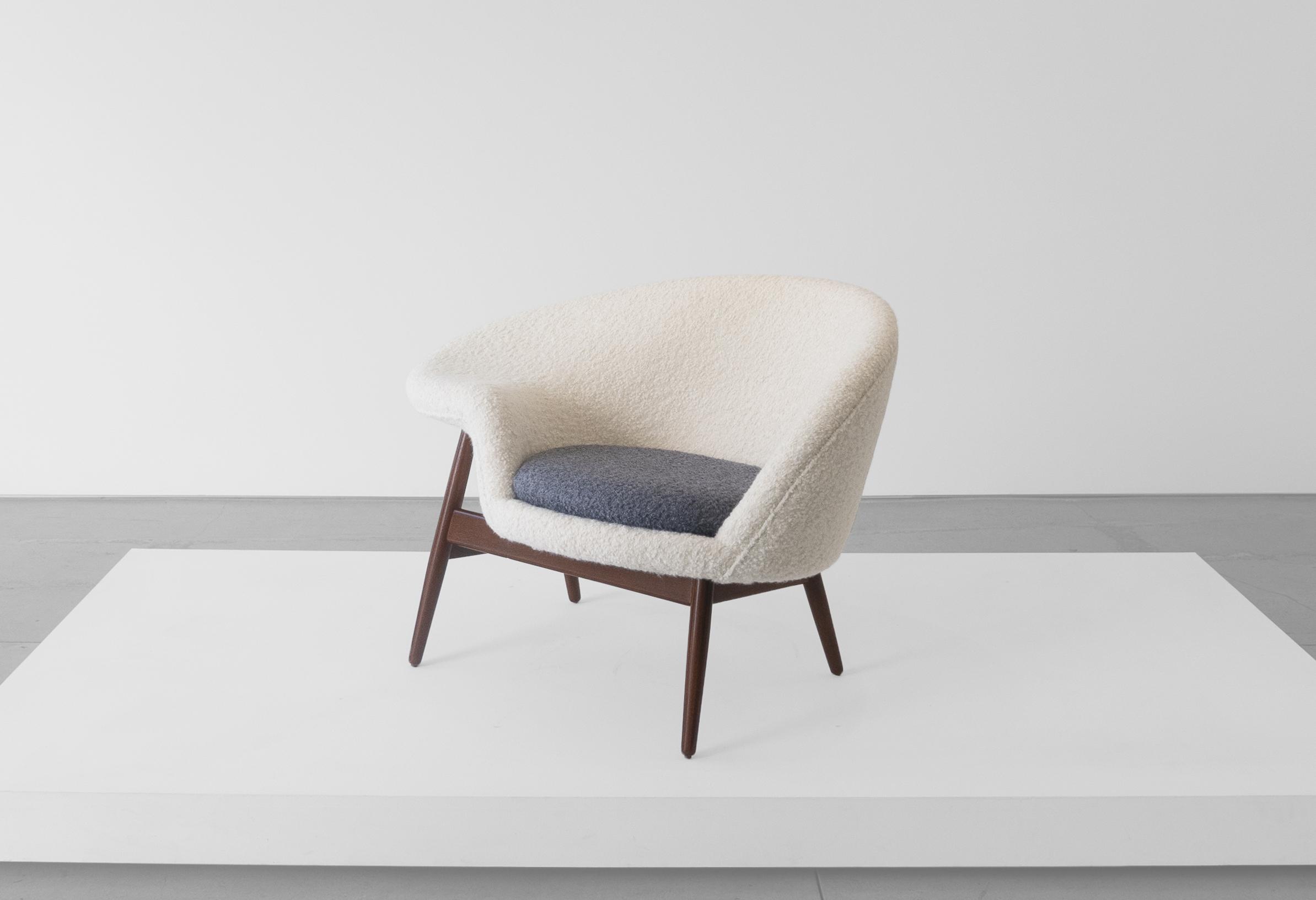 """Hans Olsen, """"Fried Egg"""" Chair 2, c. 1956, Teak, Upholstery, 26 H x 40 W x 30 D inches_2.jpg"""
