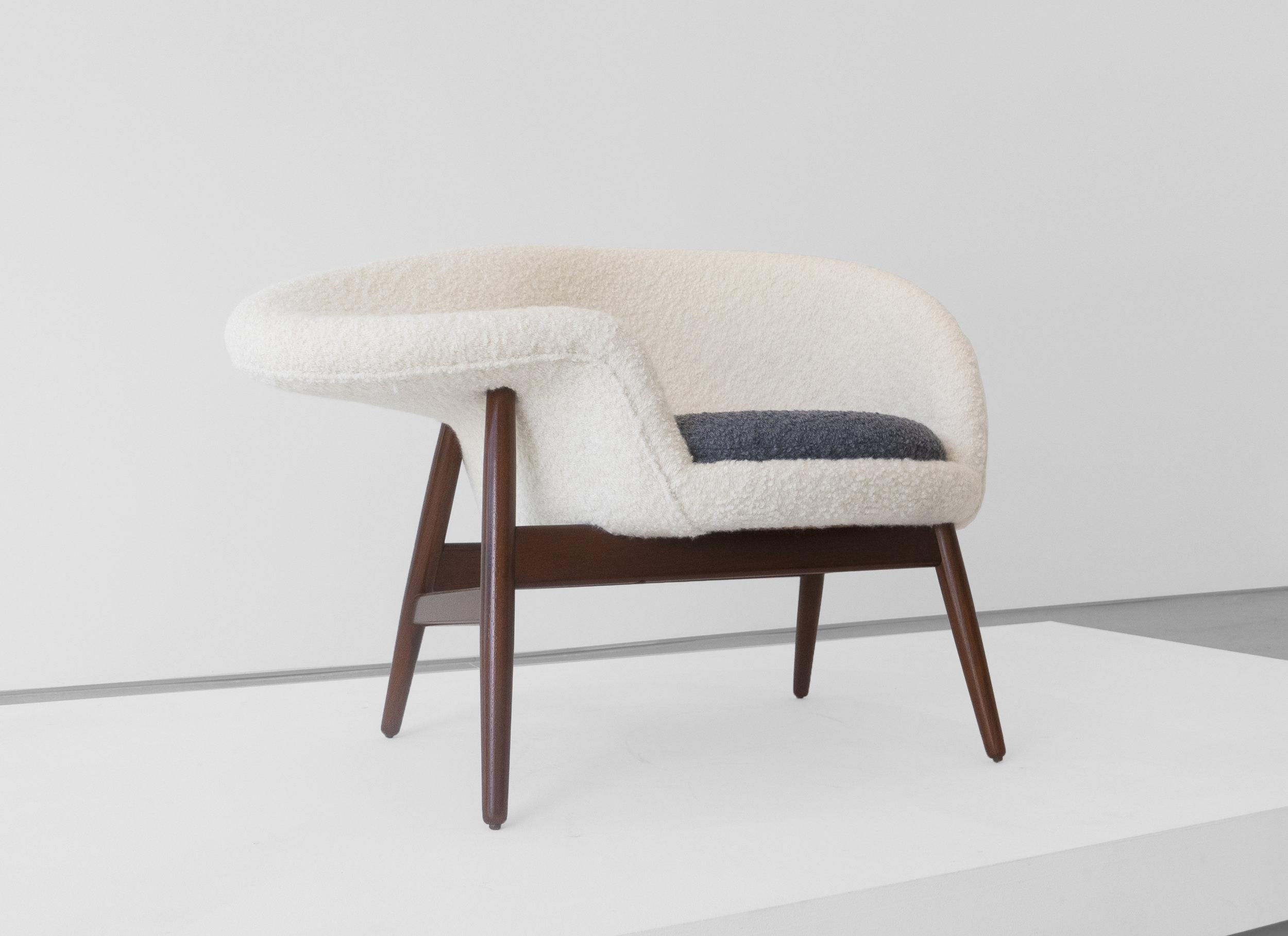 """Hans Olsen, """"Fried Egg"""" Chair 2, c. 1956, Teak, Upholstery, 26 H x 40 W x 30 D inches_3.jpg"""
