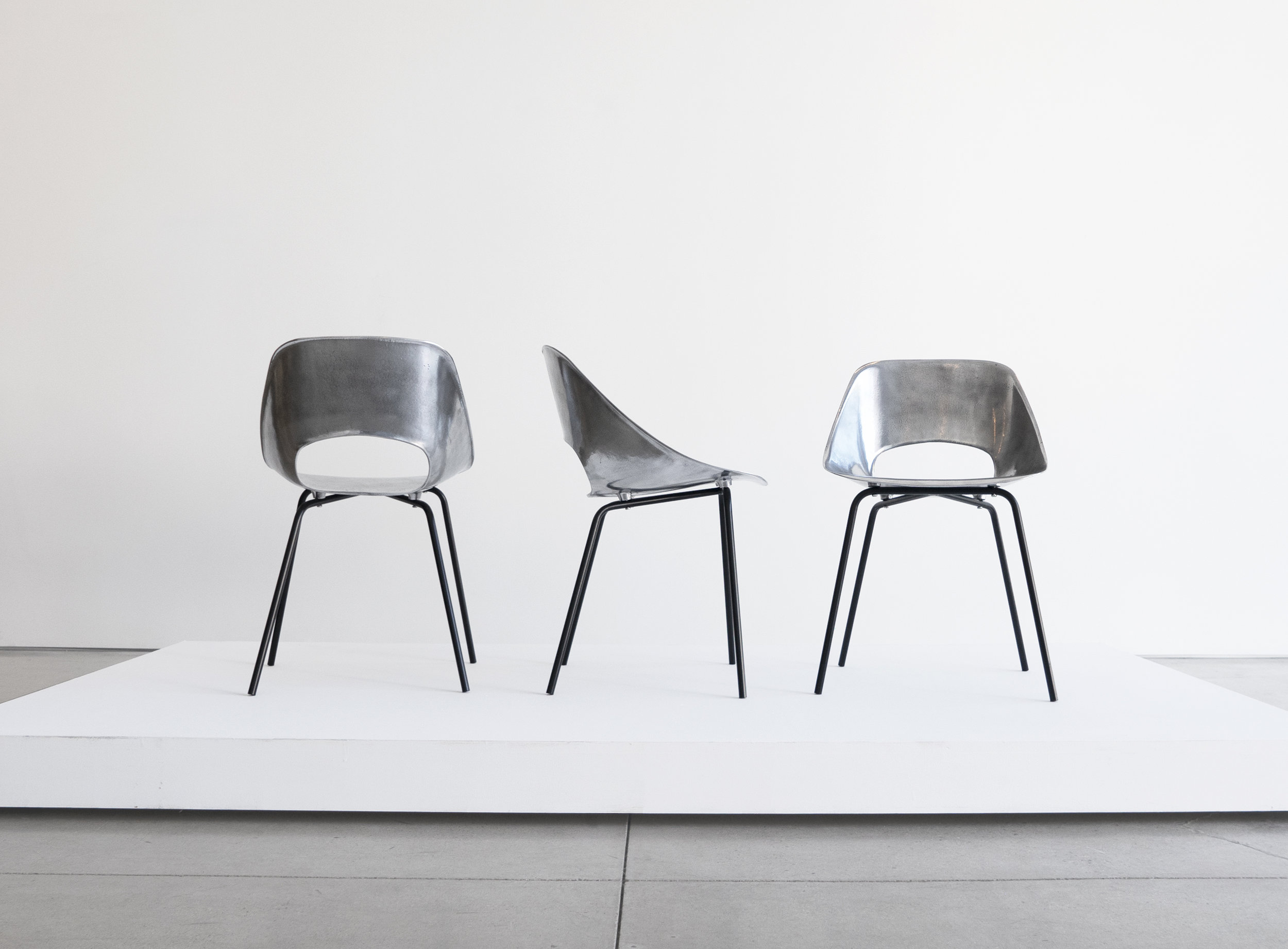 "Pierre Guariche, Set of Three ""Tonneau"" Cast Aluminum Chairs, c. 1950-1959, Aluminum, Iron, 28 H x 18 W x 16 D inches_1.jpg"