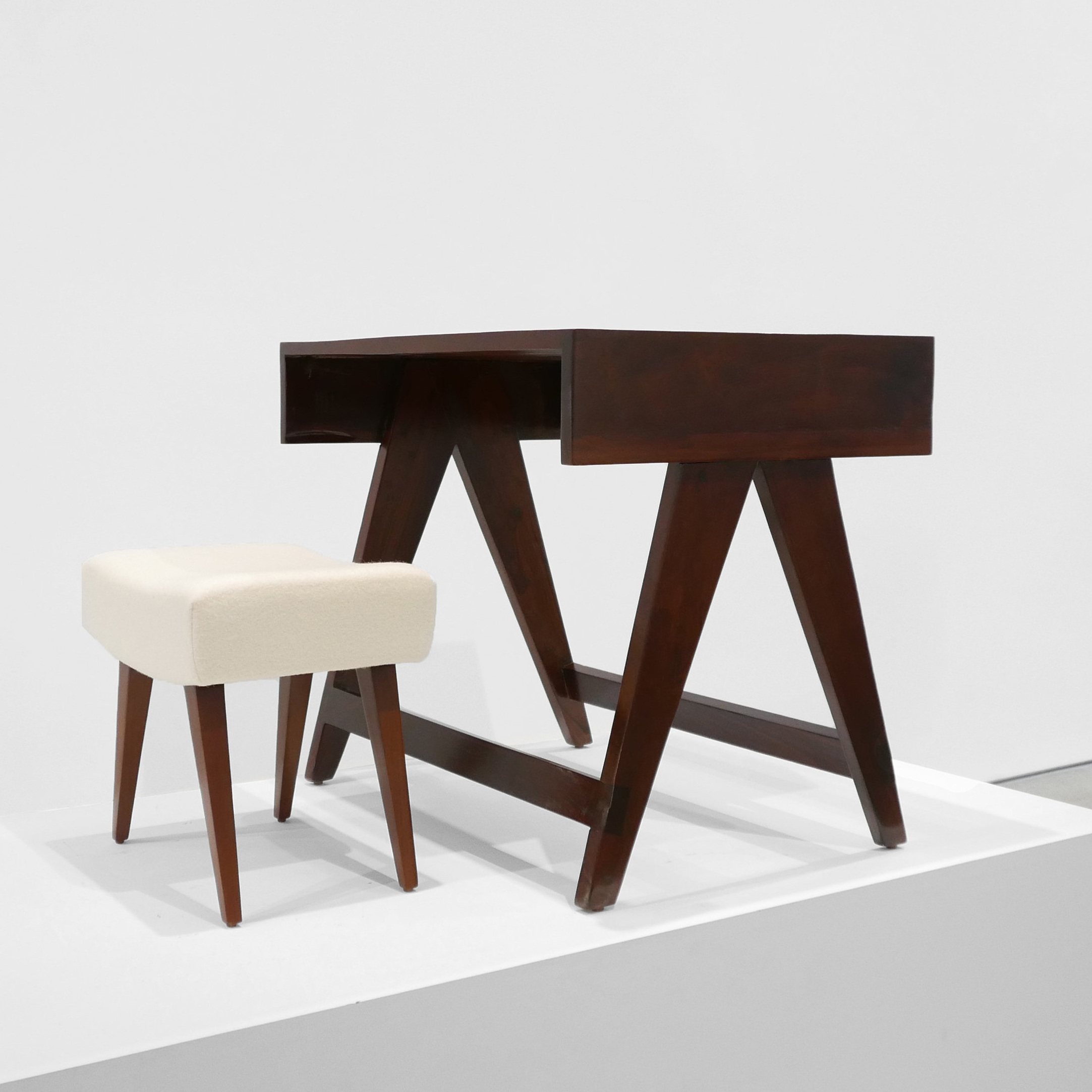 pierre jeanneret desk & stool from chandigarh sold