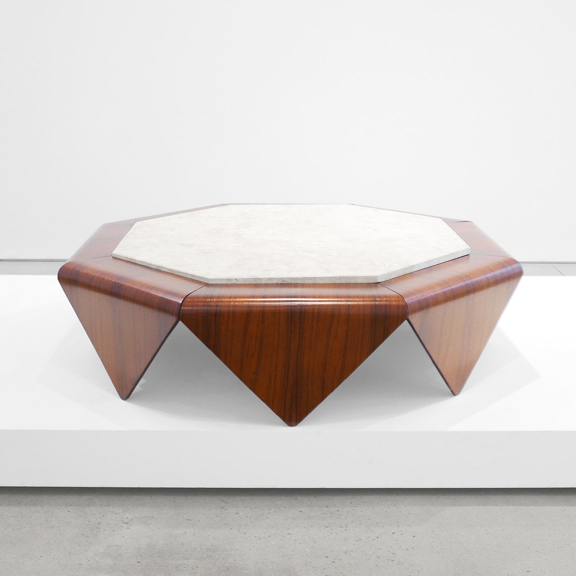 jorge zalszupin 'petalas' coffee table with marble inlay $22,500