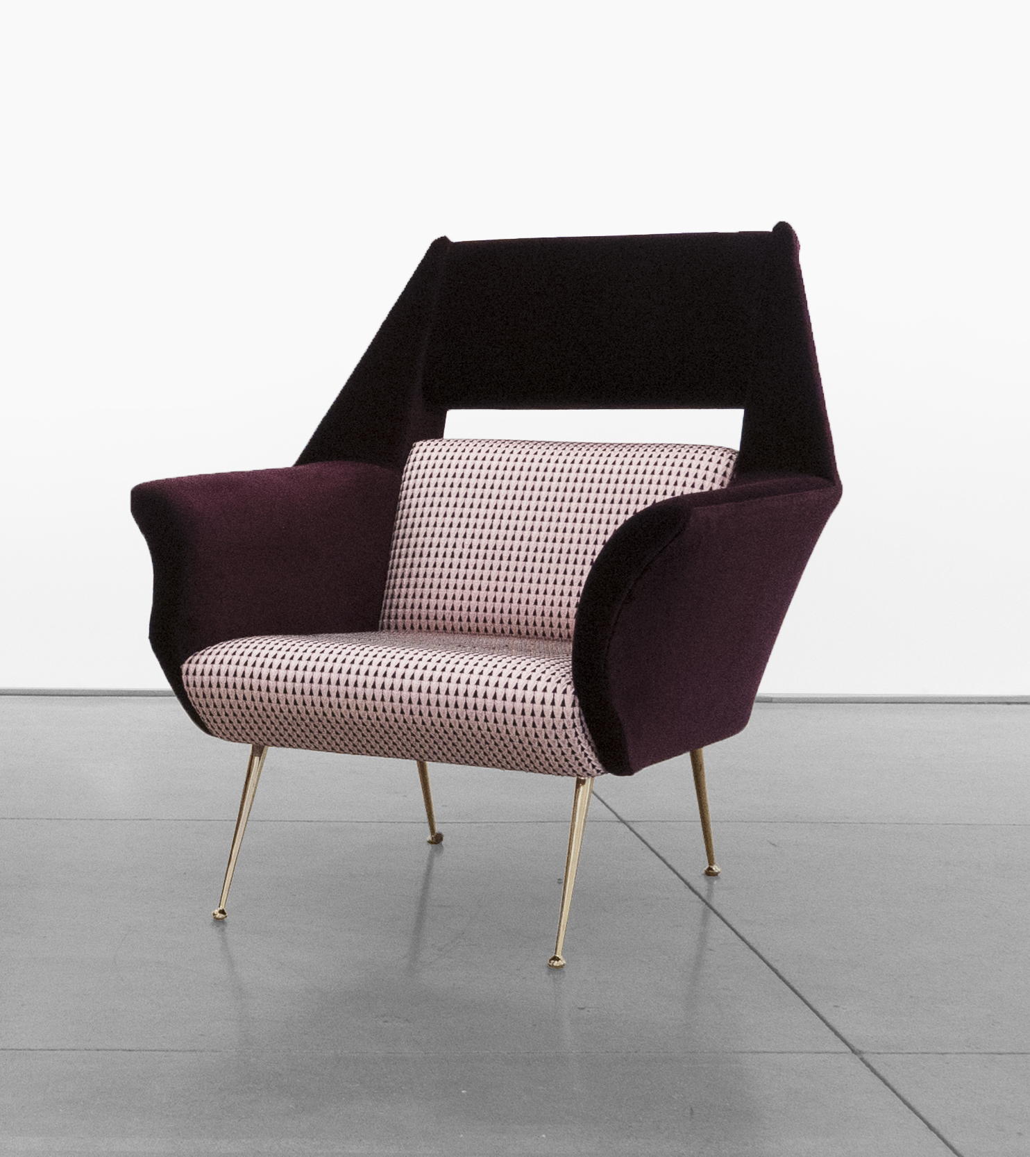 Gigi Radice, Chairs for Minotti, c. 1950 - 1959, Brass, Dedar Milano Upholstery, 31 H x 28 W x 29 D inches_4 copy.jpg