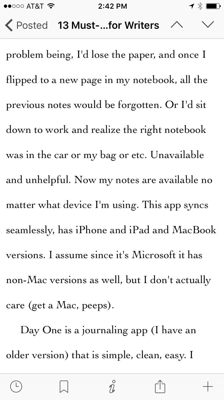 scrivener iphone app text edit
