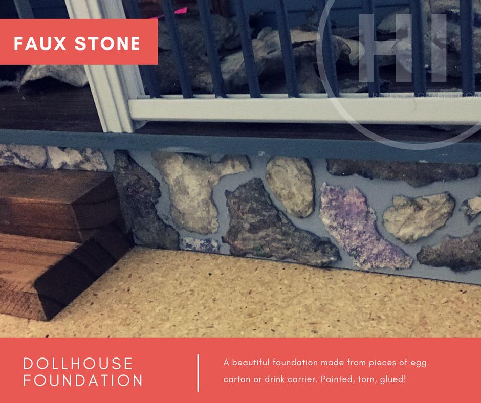 how to diy stone foundation dollhouse