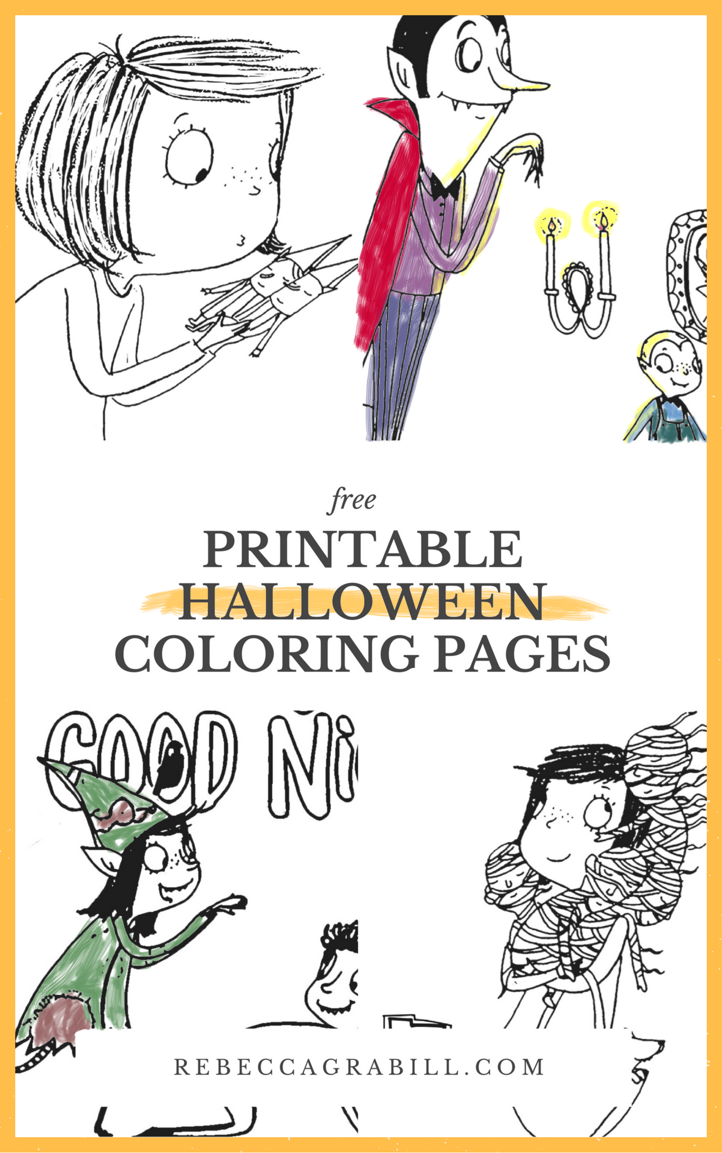 Printable halloween coloring pages based on the picture book Halloween Good Night by Rebecca Grabill, Ella Okstad illus