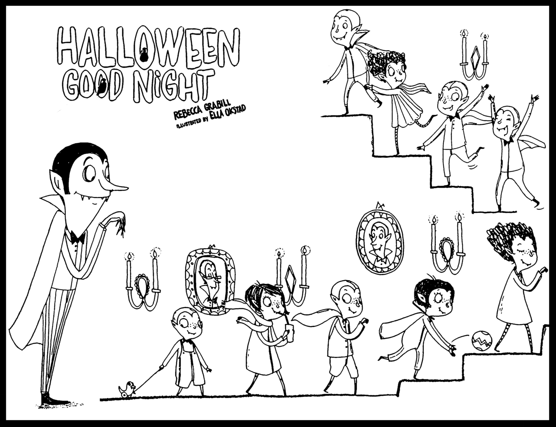 Coloring page: cute little Halloween vampires