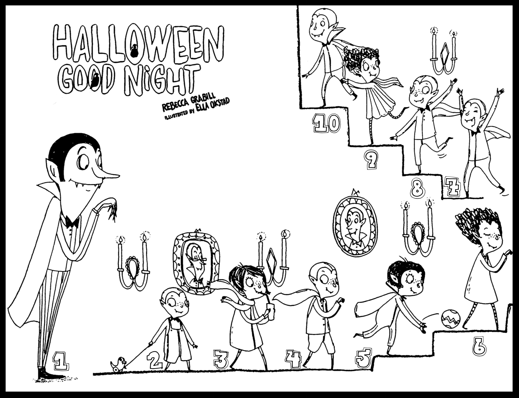 Count to 10 halloween coloring page