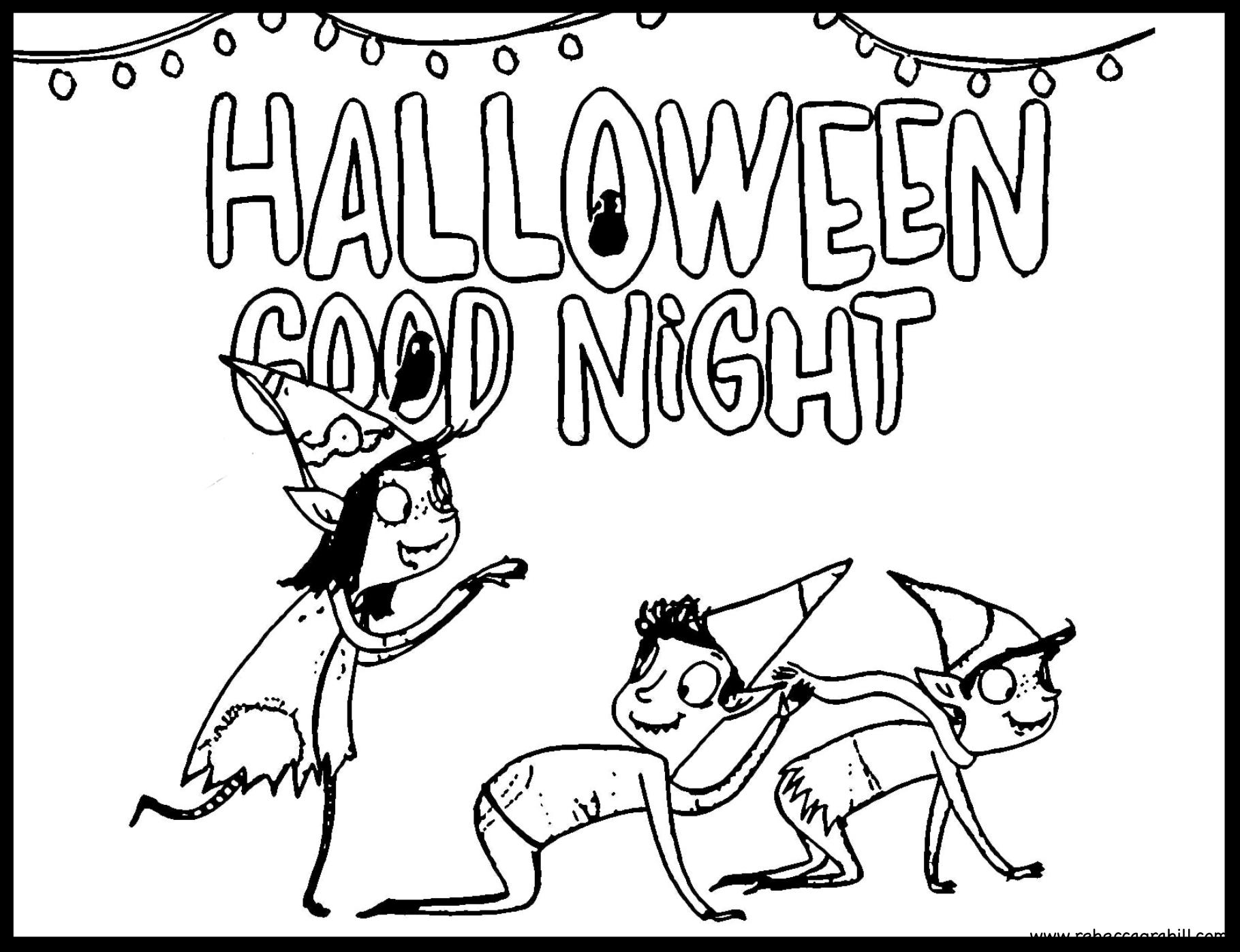 Halloween Good Night Coloring Page Printable Free