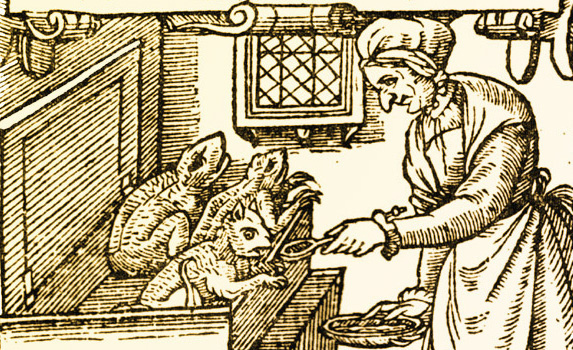 Imp being fed in this old woodcut print.