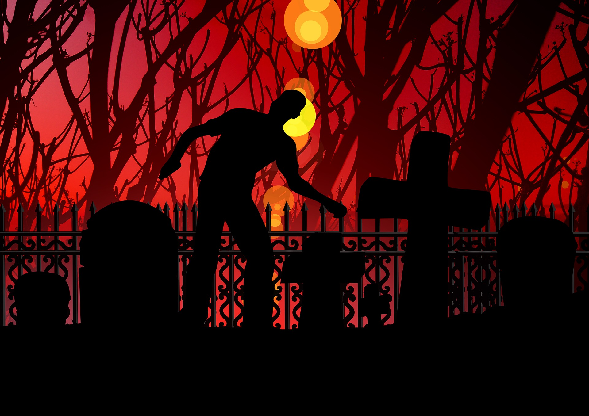Zombie lurching through the streets as part of Rebecca Grabill's 10 Nights of Halloween Series